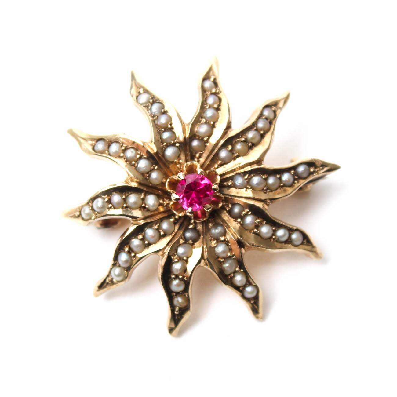 10K Yellow Gold Antique Ruby and Pearl Flower Brooch