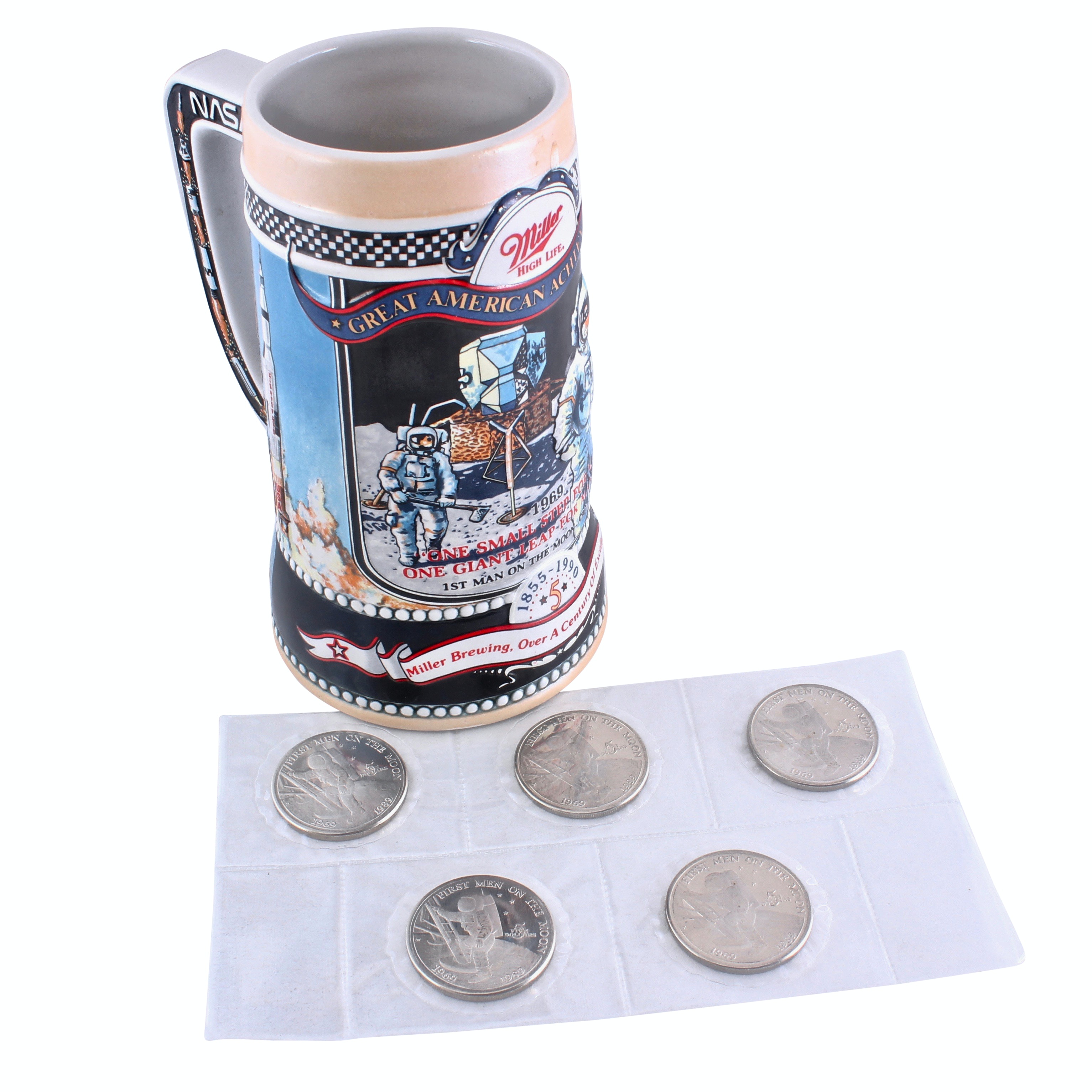 Collection of Marshall Island Five Dollar Commemorative Coins and Stein