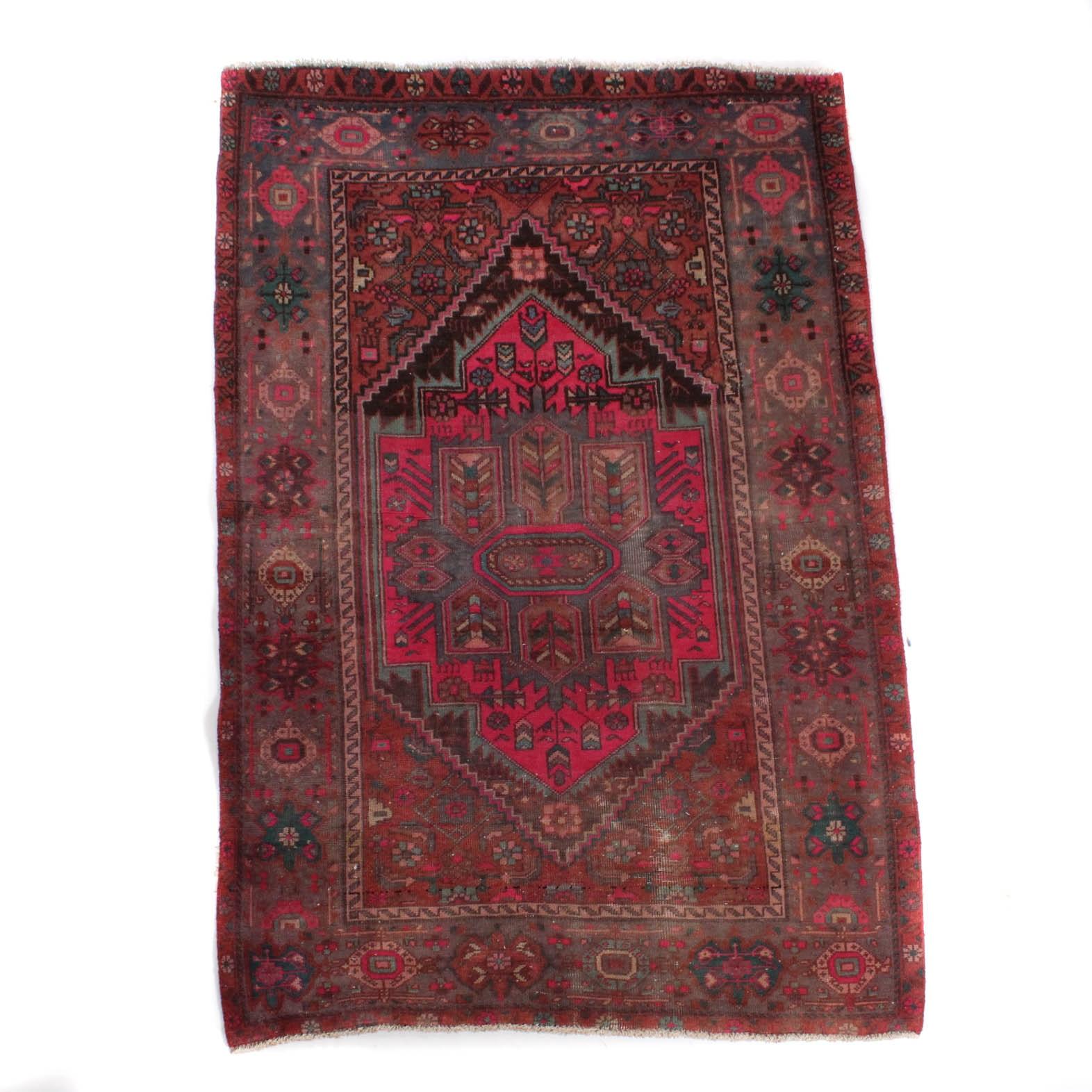 Vintage Hand-Knotted Persian Kurdish Bijar Rug