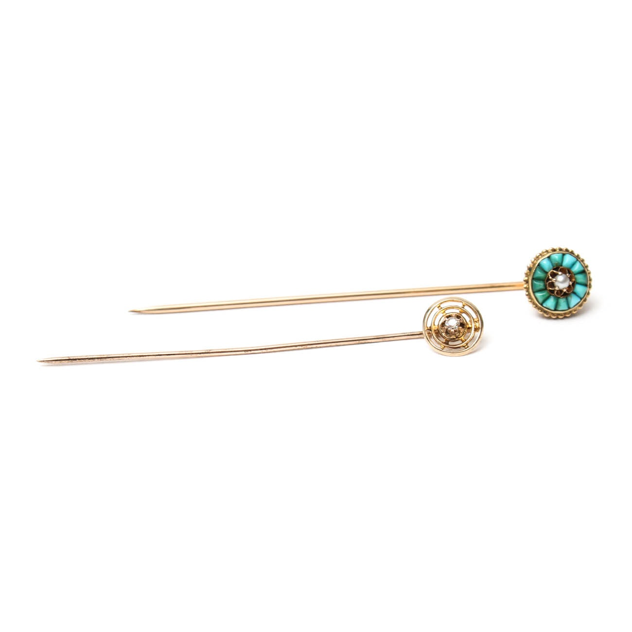 10K Yellow Gold Diamond and 18K Turquoise and Pearl Stick Pins
