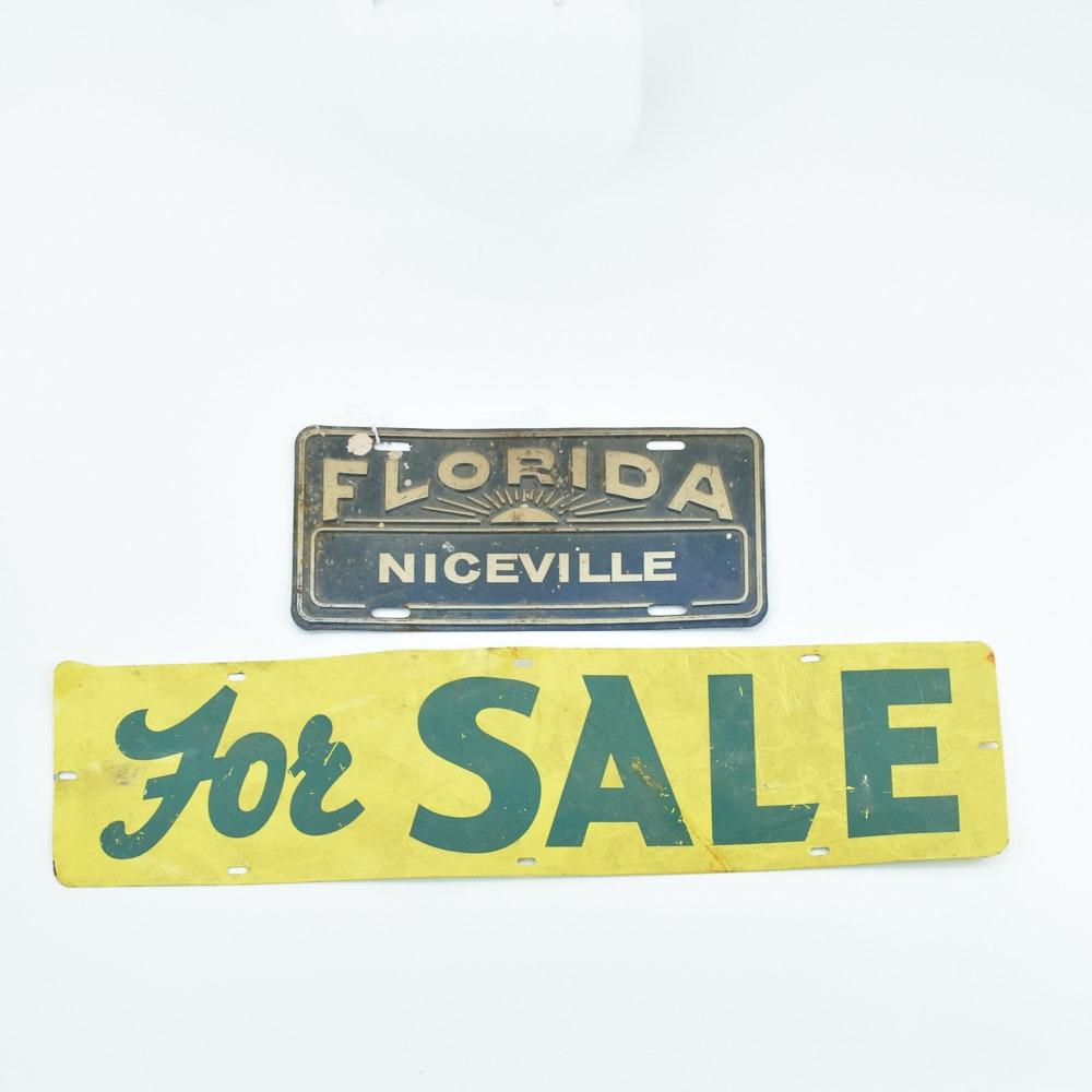 "Vintage ""Florida Niceville"" Car Tag and ""For Sale"" Sign"