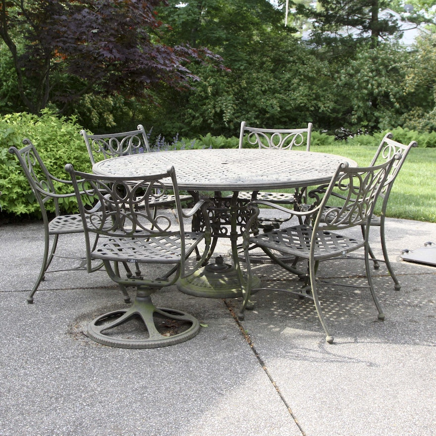 Landgrave Patio Furniture.Woodard Landgrave Patio Round Table And Chair Set