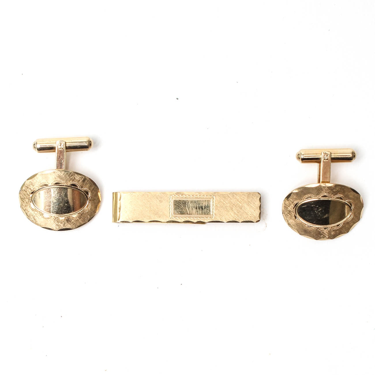 14K Yellow Gold Cufflinks and Tie Clip