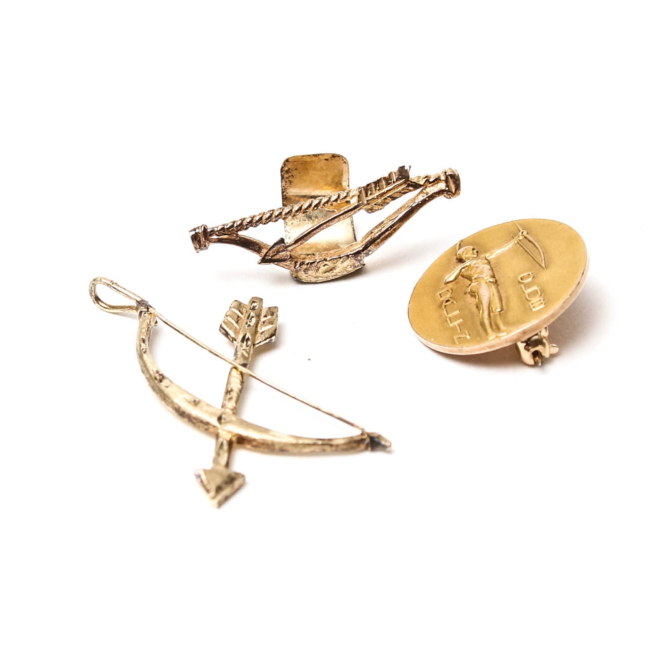 10K Yellow Gold Ear Cuff with Pendant and 14K Lapel Pin