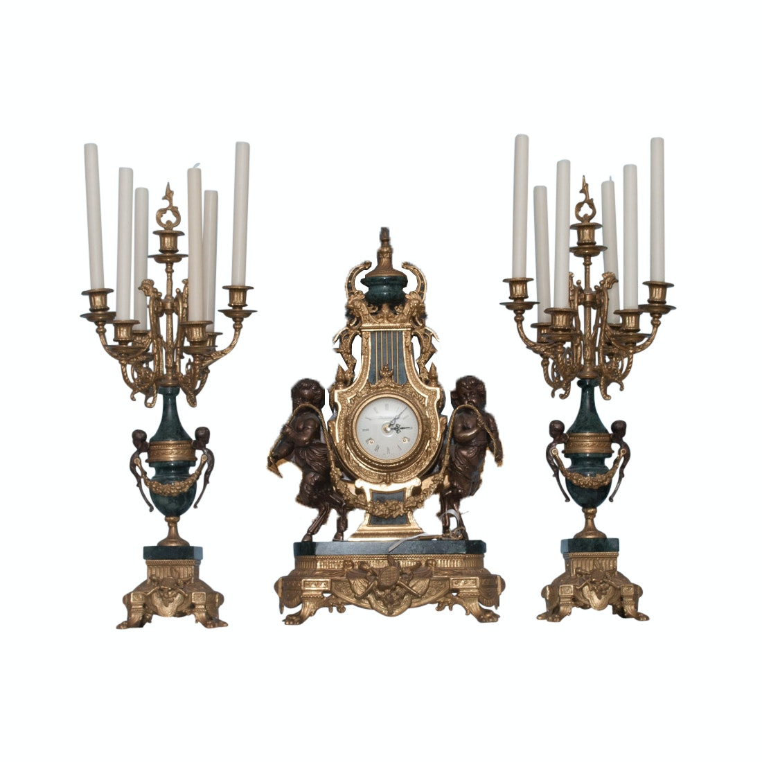 Imperial Rococo-Style Clock and Candelabra Set