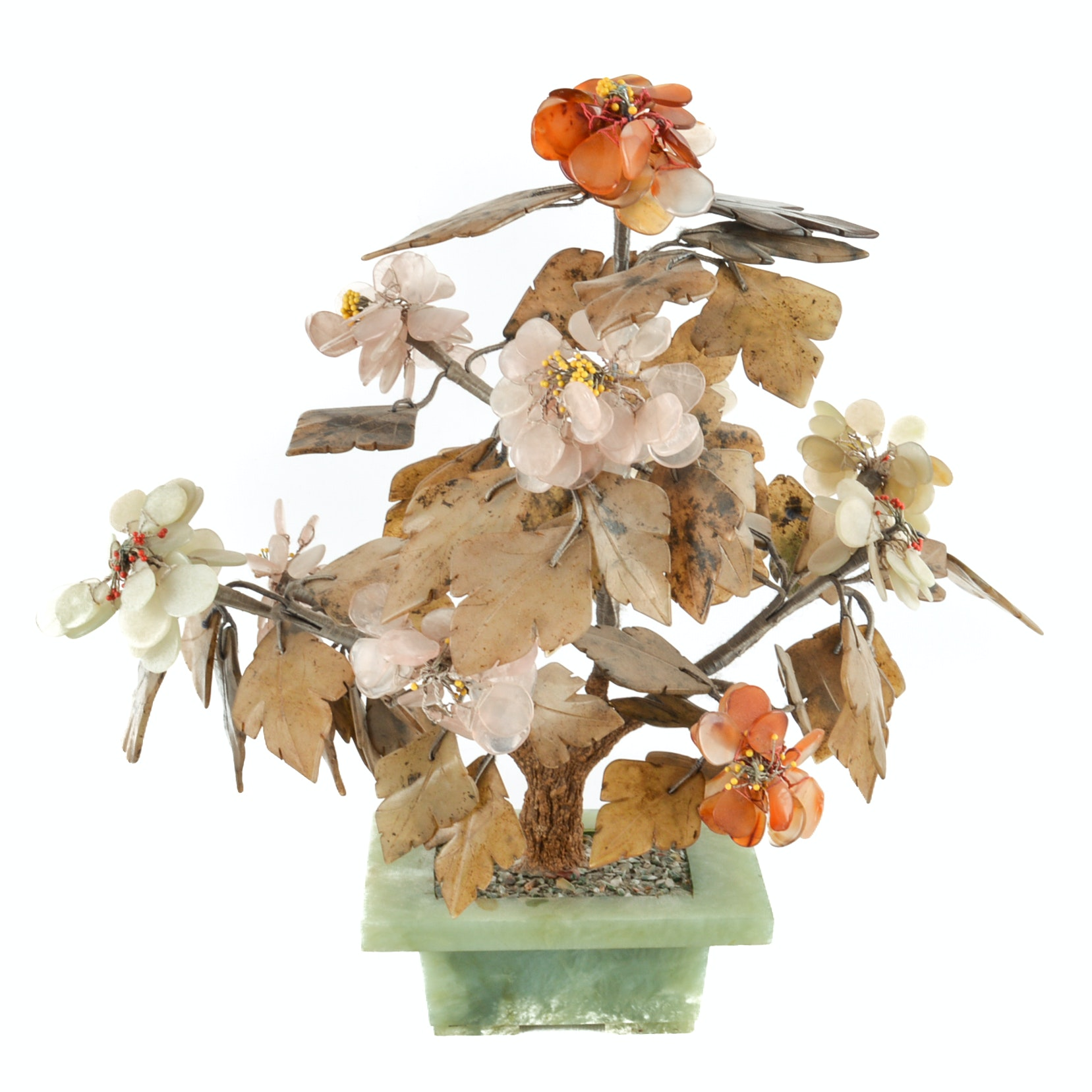 Chinese Hardstone and Wire Tree Sculpture