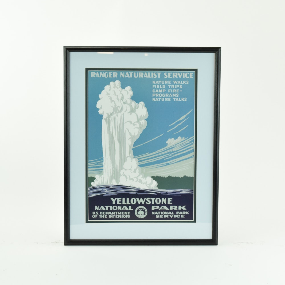Offset Lithograph Travel Poster for Yellowstone National Park