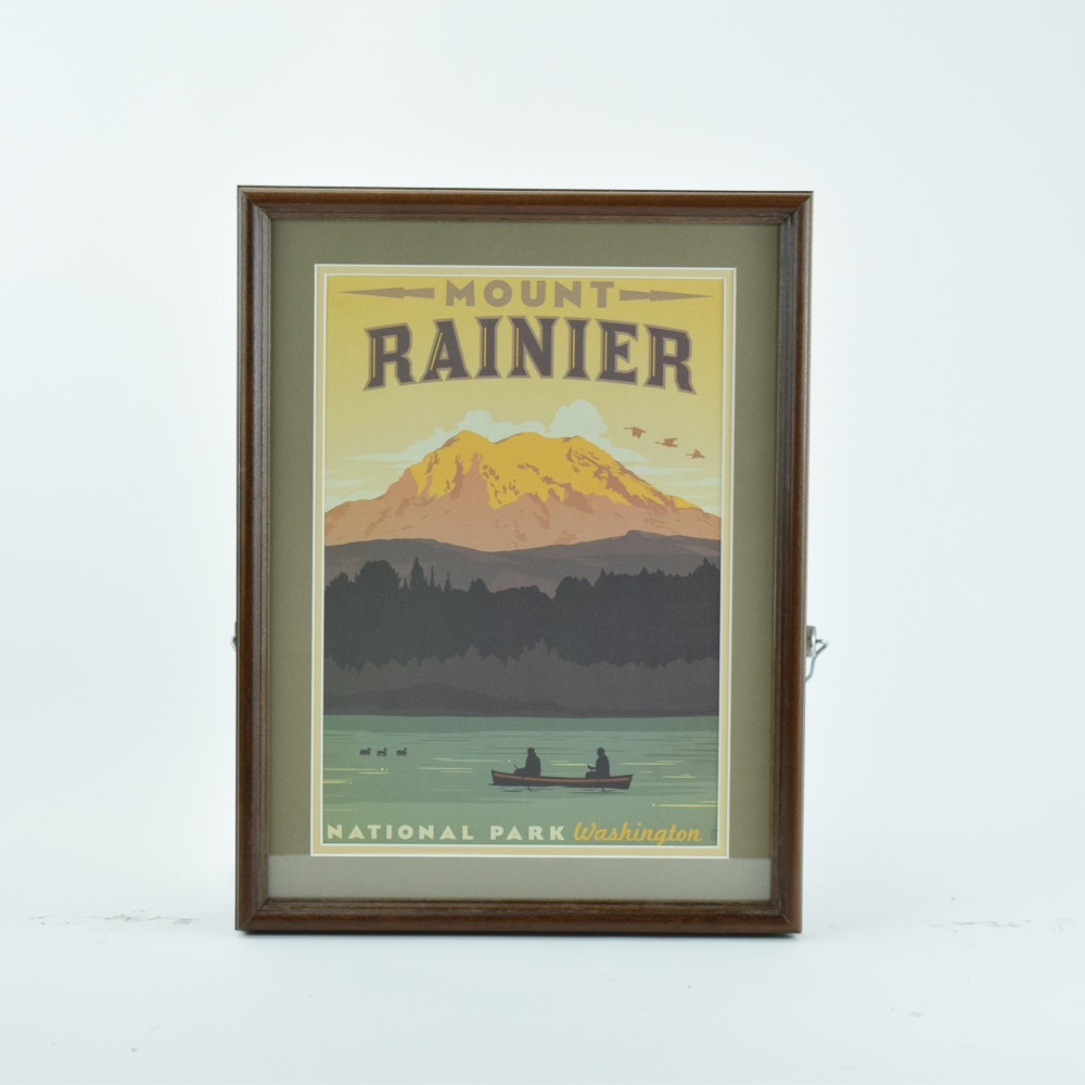 Offset Lithograph Vintage Style Travel Poster for Mount Rainier National Park
