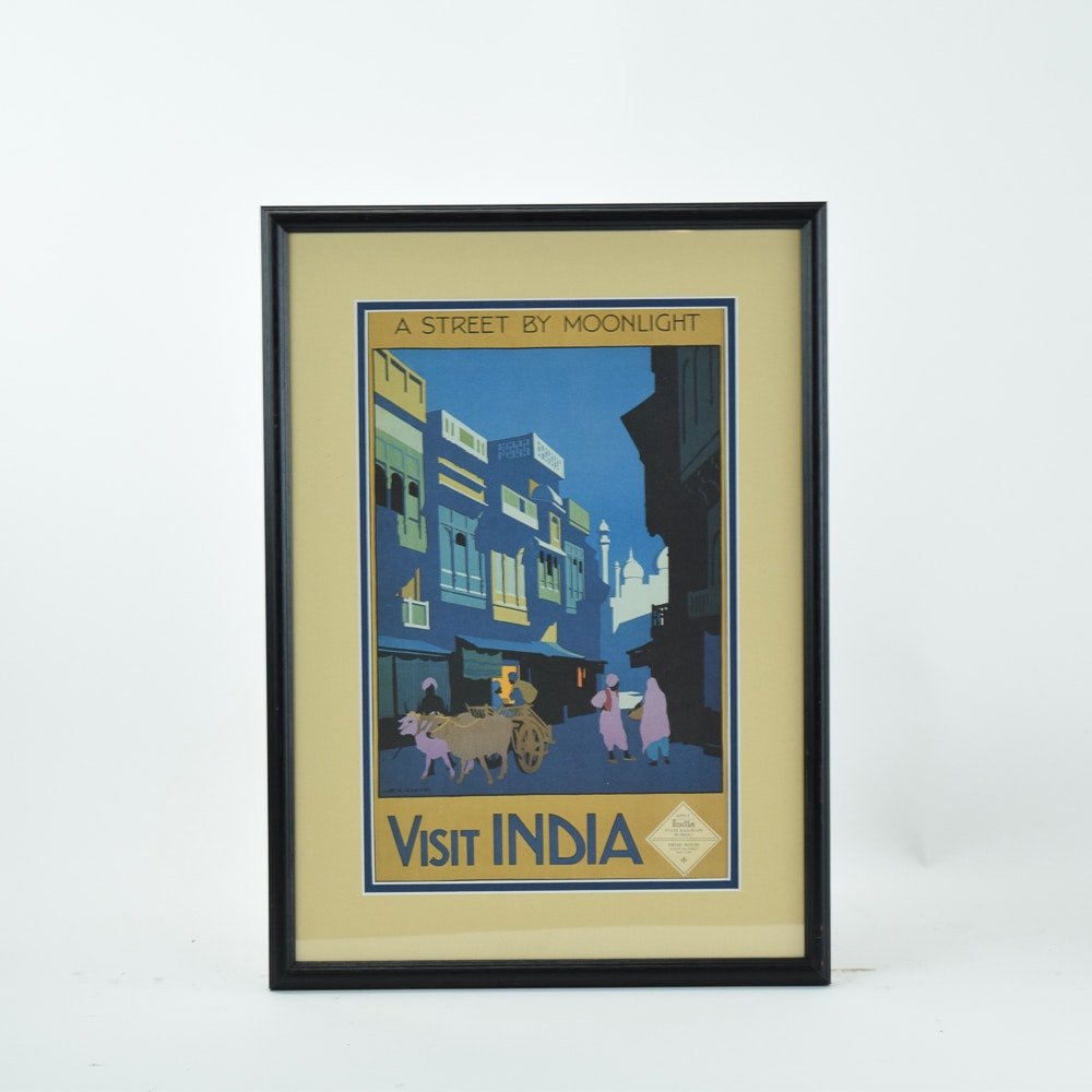 "Offset Lithograph Reproduction Travel Advertisement ""Visit India"""