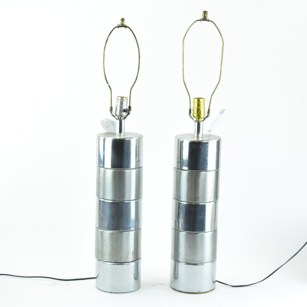 Mid Century Modern Two-Tone Chrome Cylindrical Table Lamps