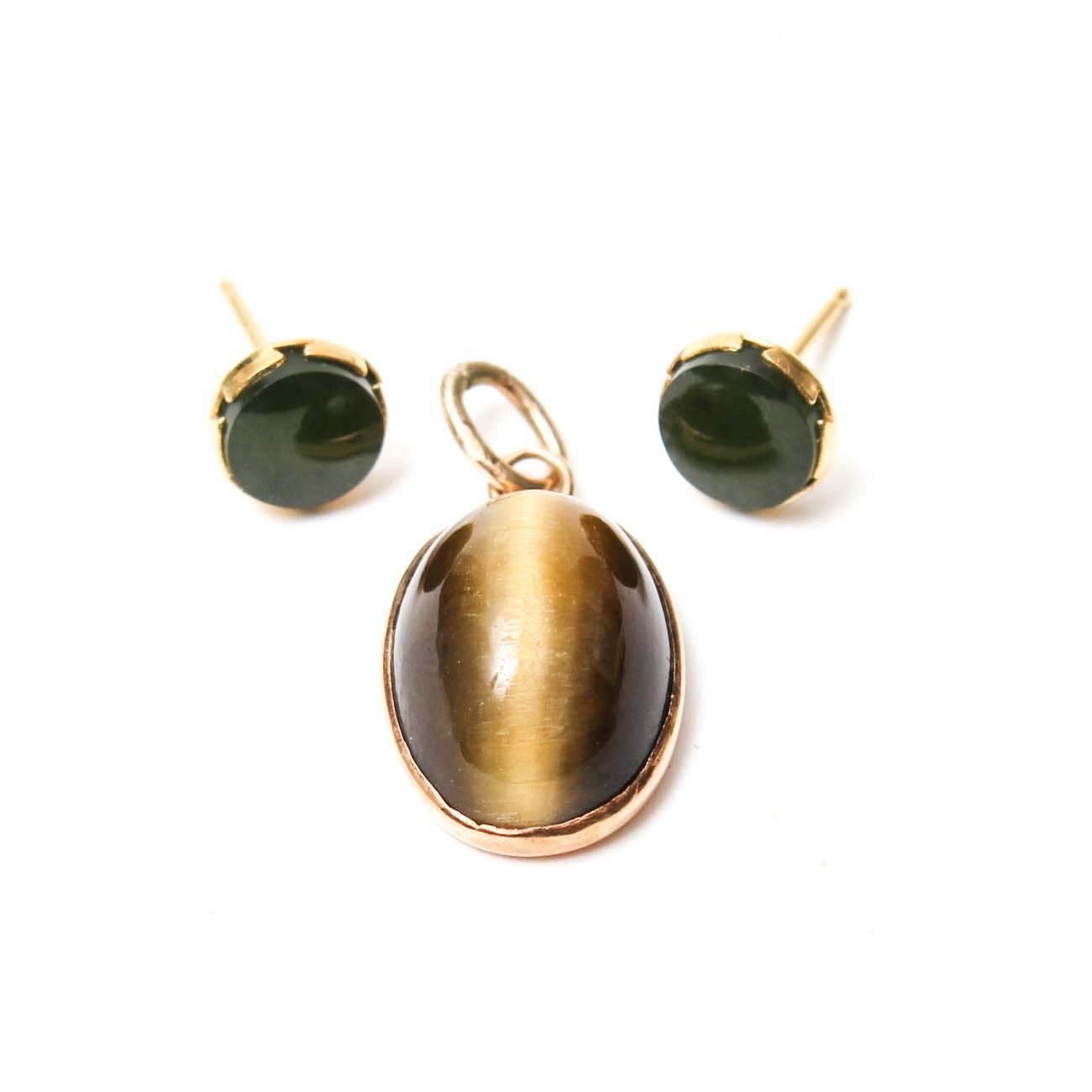 14K Yellow Gold Tiger's Eye Pendant and Nephrite Studs