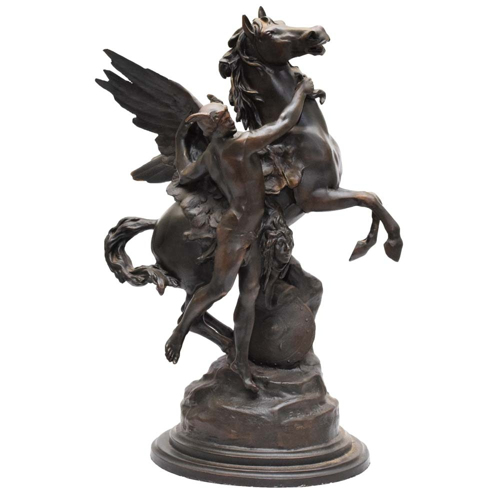 """After Emile-Louis Picault Cast Bronze Sculpture """"Pegasus"""""""