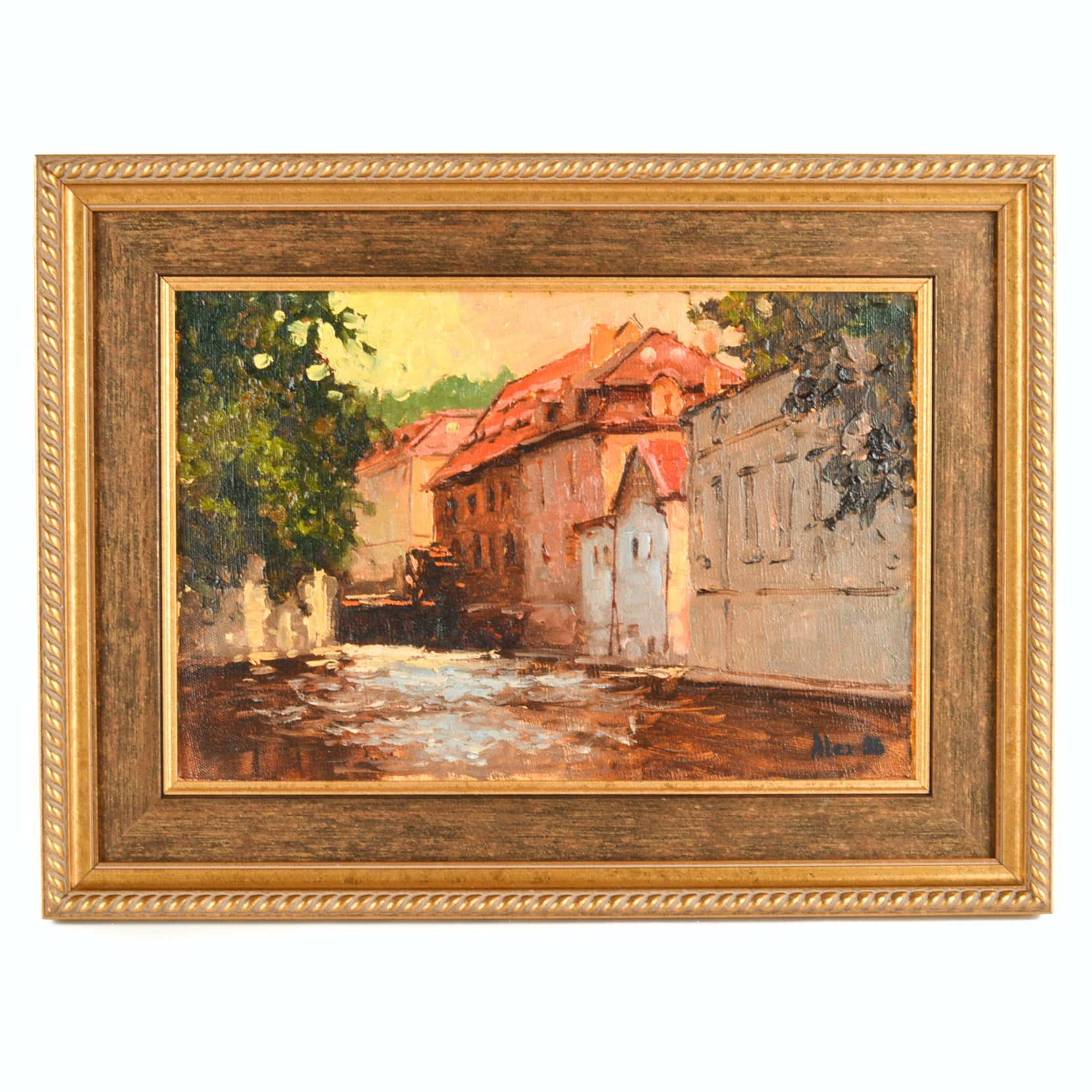 1936 Original Oil on Canvas Streetscape Painting