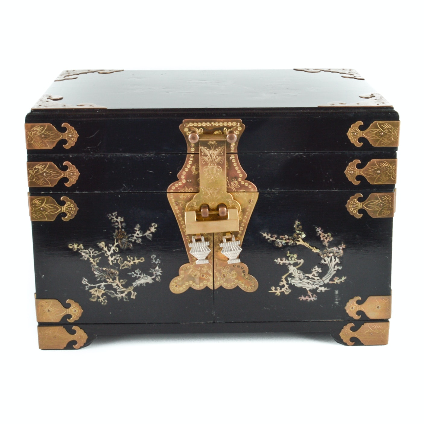 Chinese Black Lacquered Jewelry Chest With Mother of Pearl Inlay