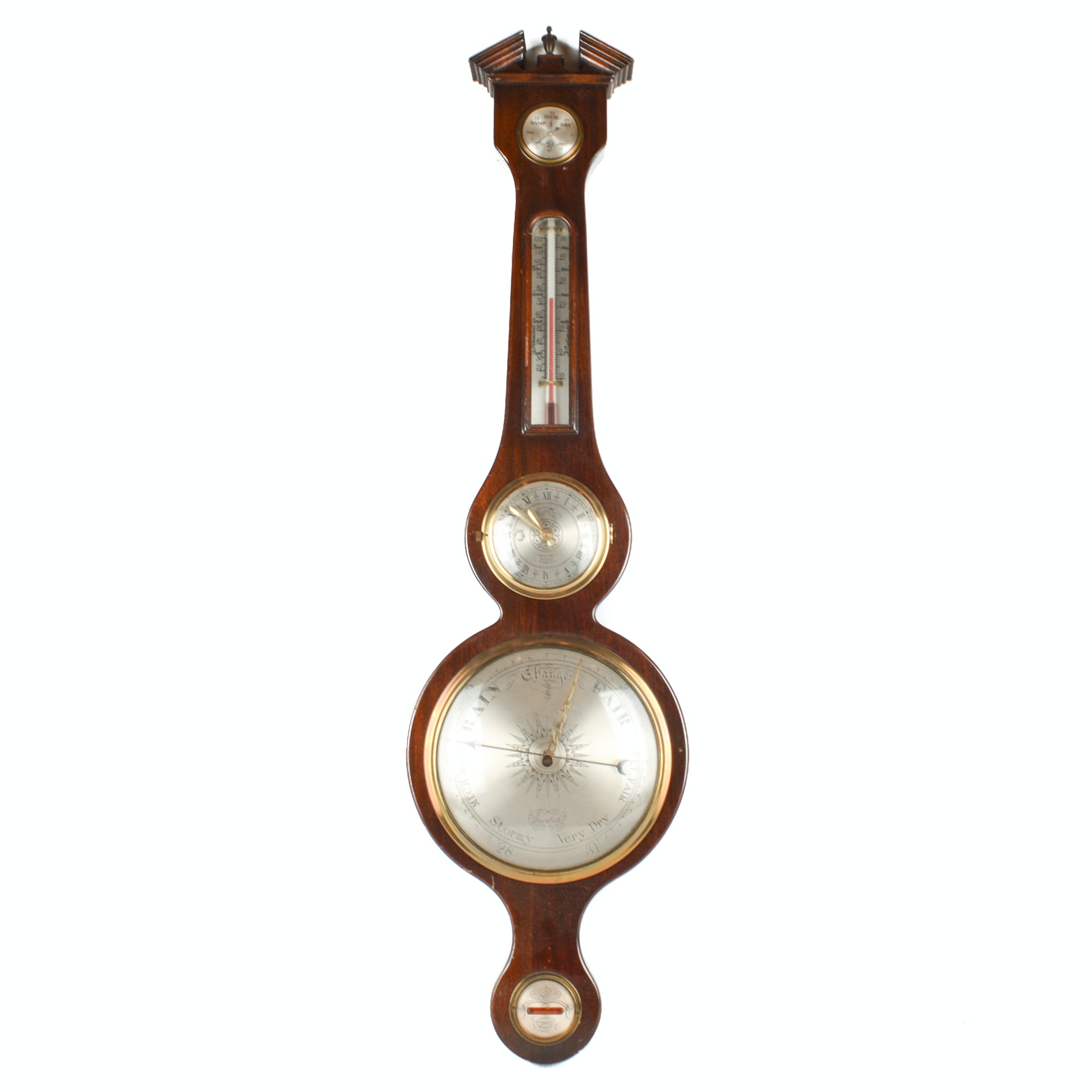 Peter F. Bollenbach Vintage Regency Style Mahogany Wall Barometer