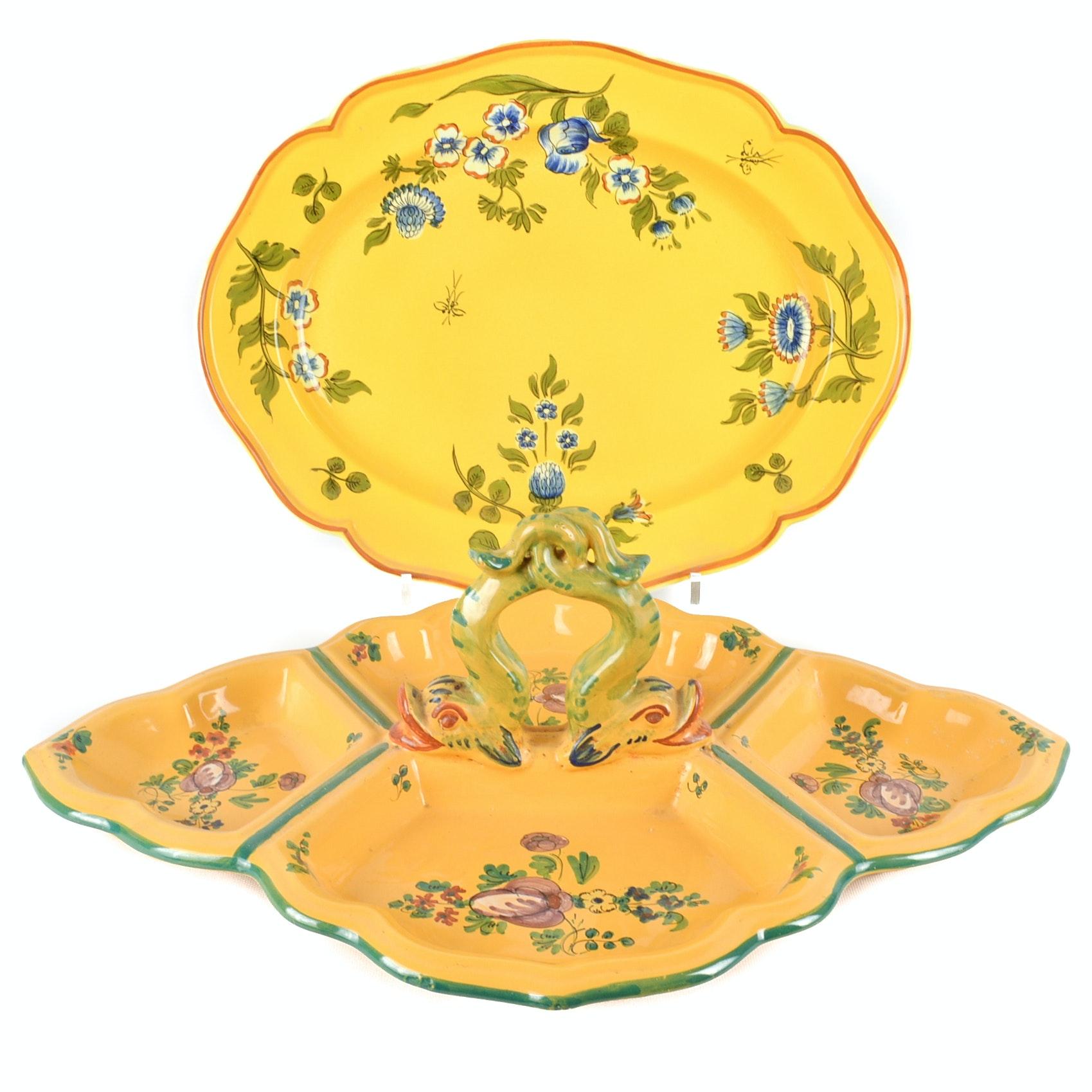 Italian Handpainted Art Pottery Tableware
