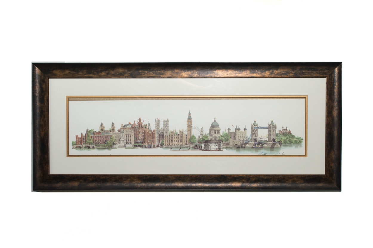 "Matthew Cook Original Watercolor ""London Landmarks"""