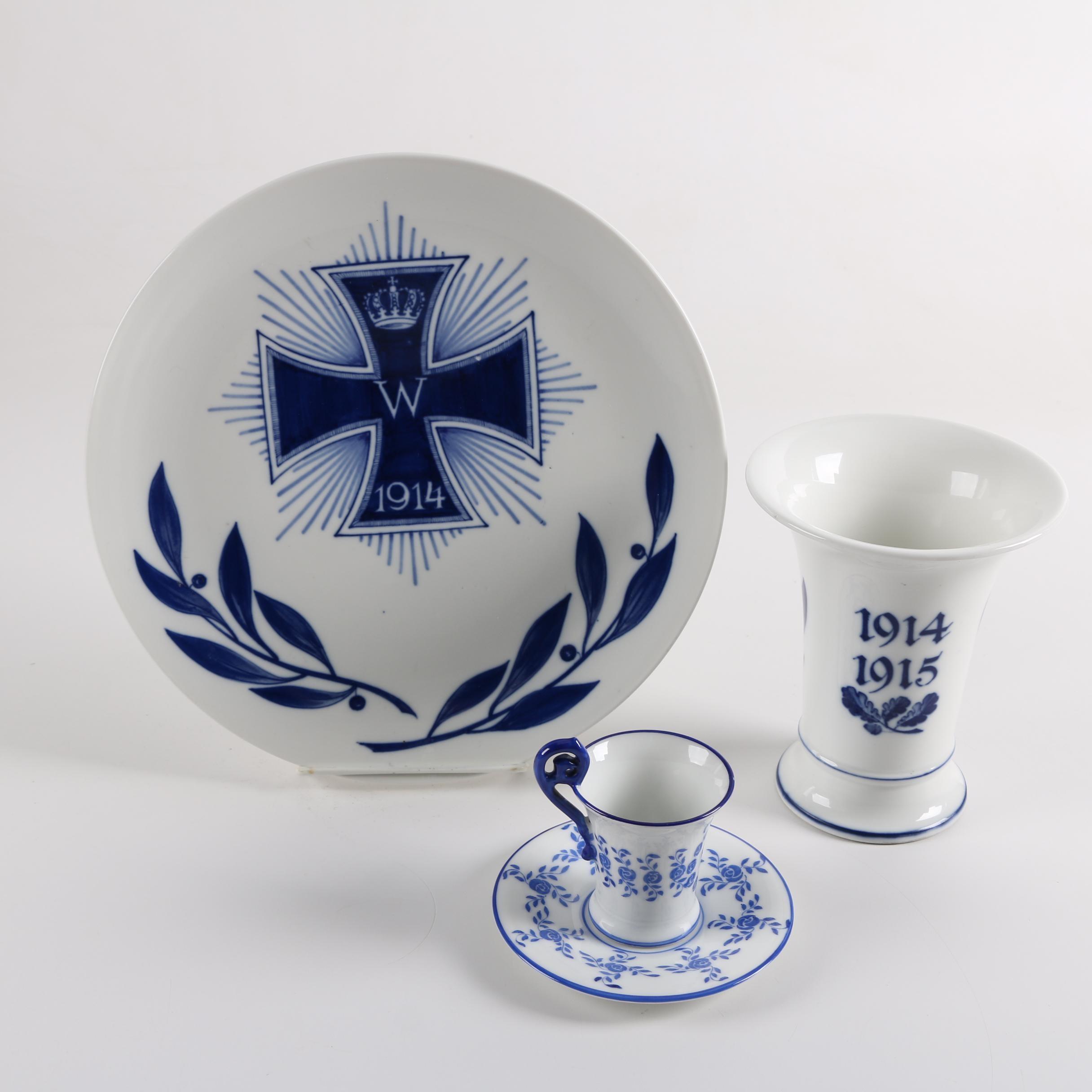 Antique German Porcelain Tableware Including Meissen