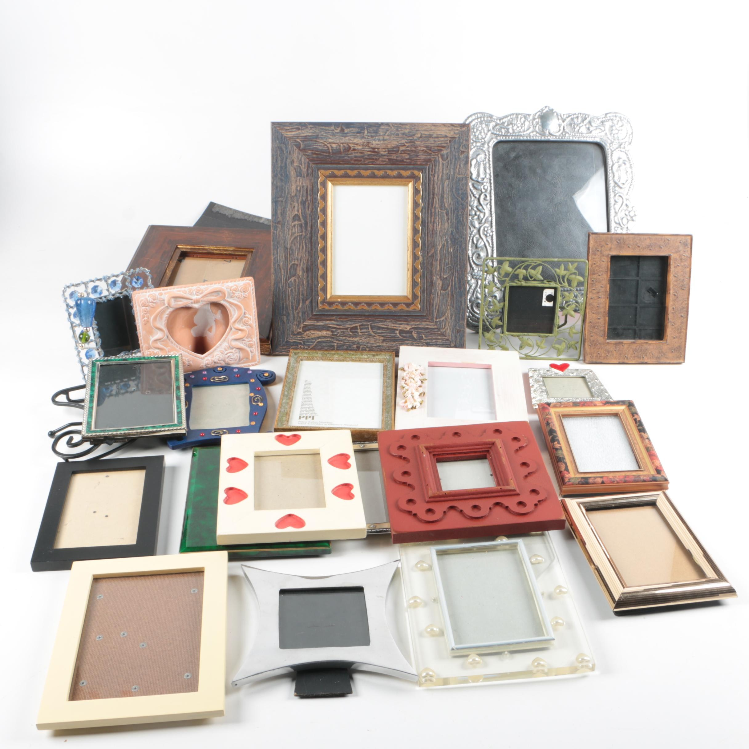 Contemporary Table Top Picture Frames including Silver Plate