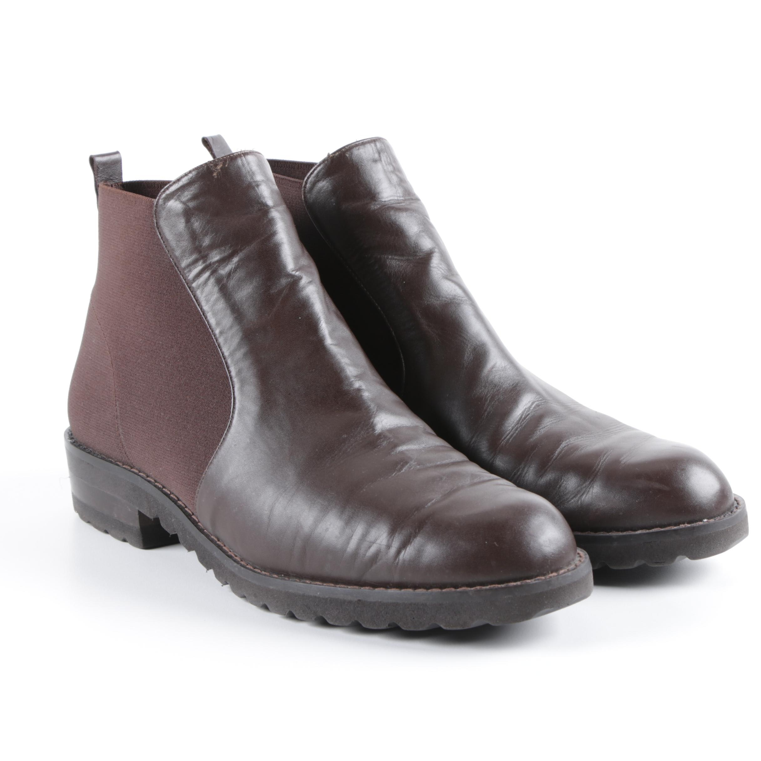 Women's Paul Mayer Brown Leather and Nylon Booties