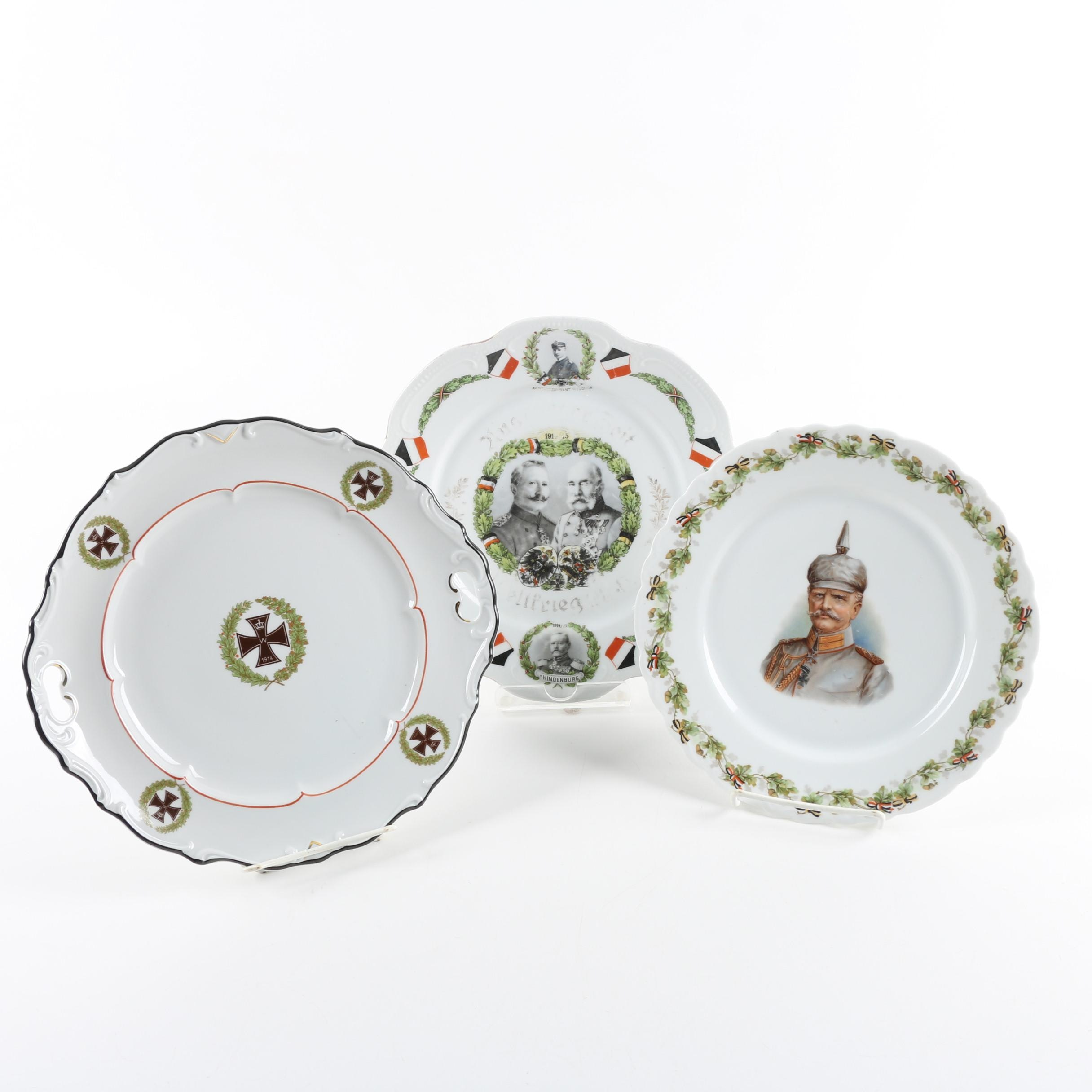 Porcelain WWI-Themed German Plates and Platter