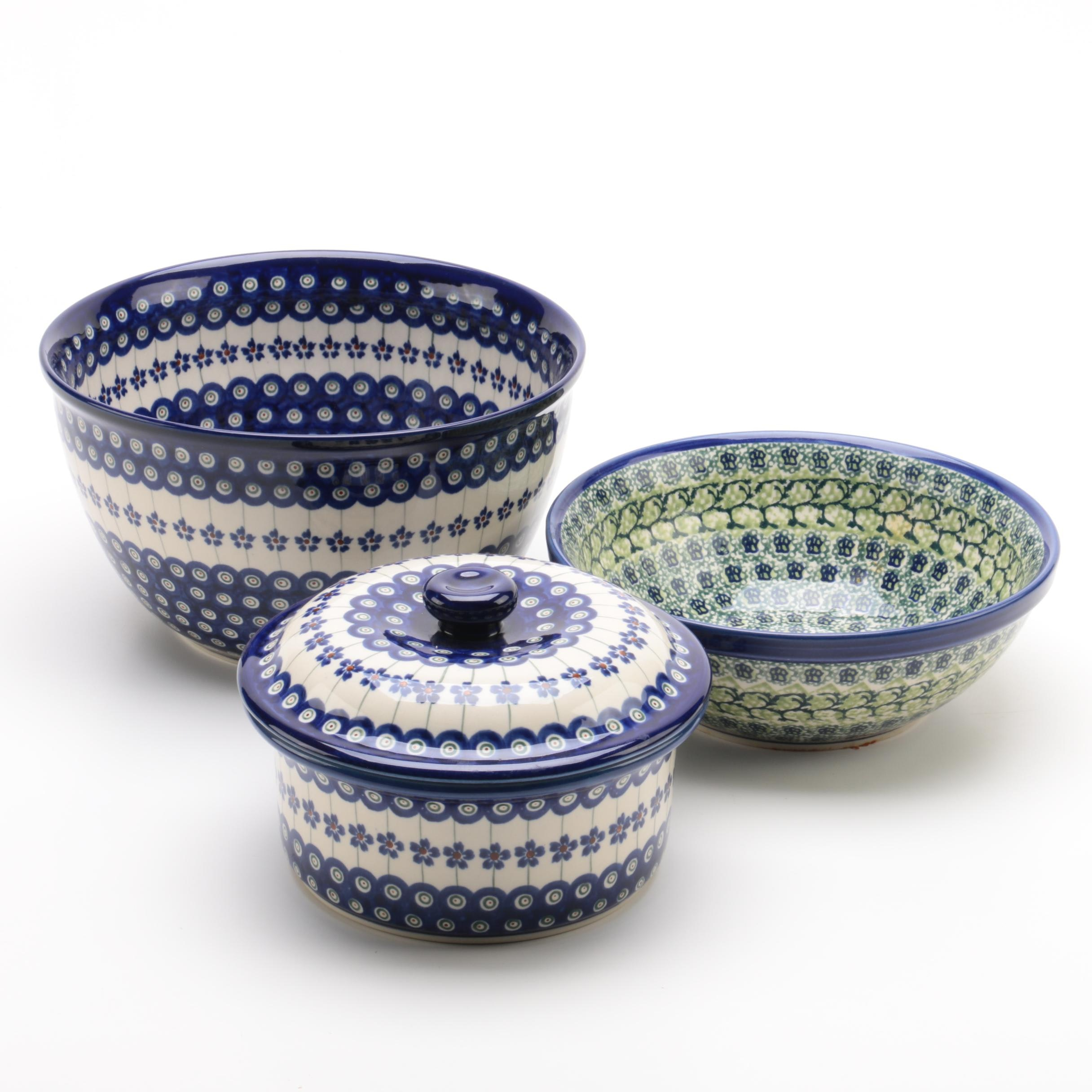 Hand-Painted Unikat Polish Ceramic Bowls and Casserole