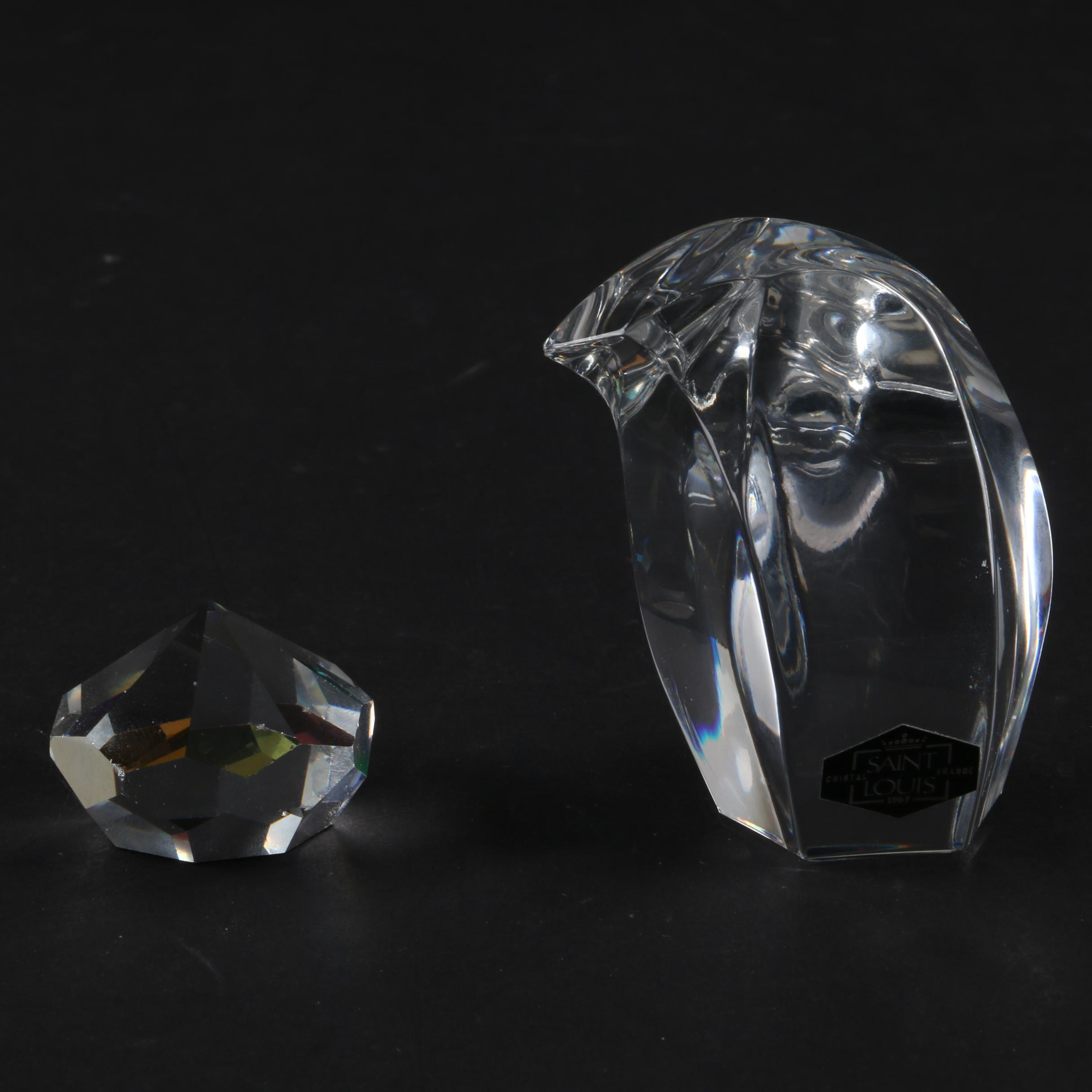 St. Louis France Crystal Penguin Figurine with a Gem Shaped Paperweight