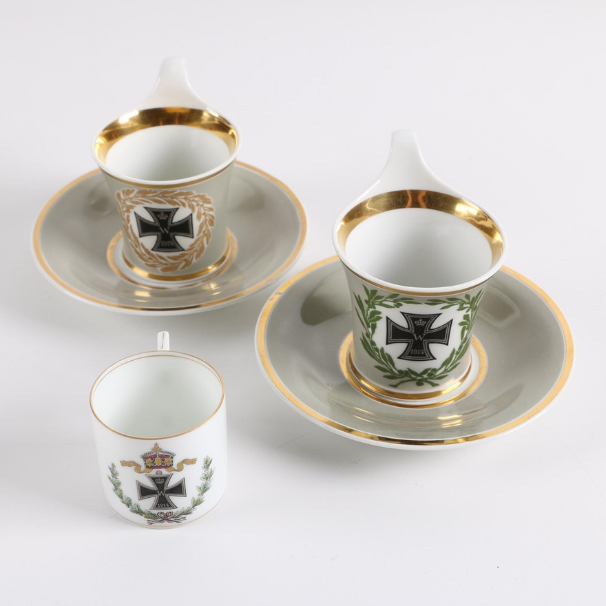 Antique World War One Prussian Teacups including KPM