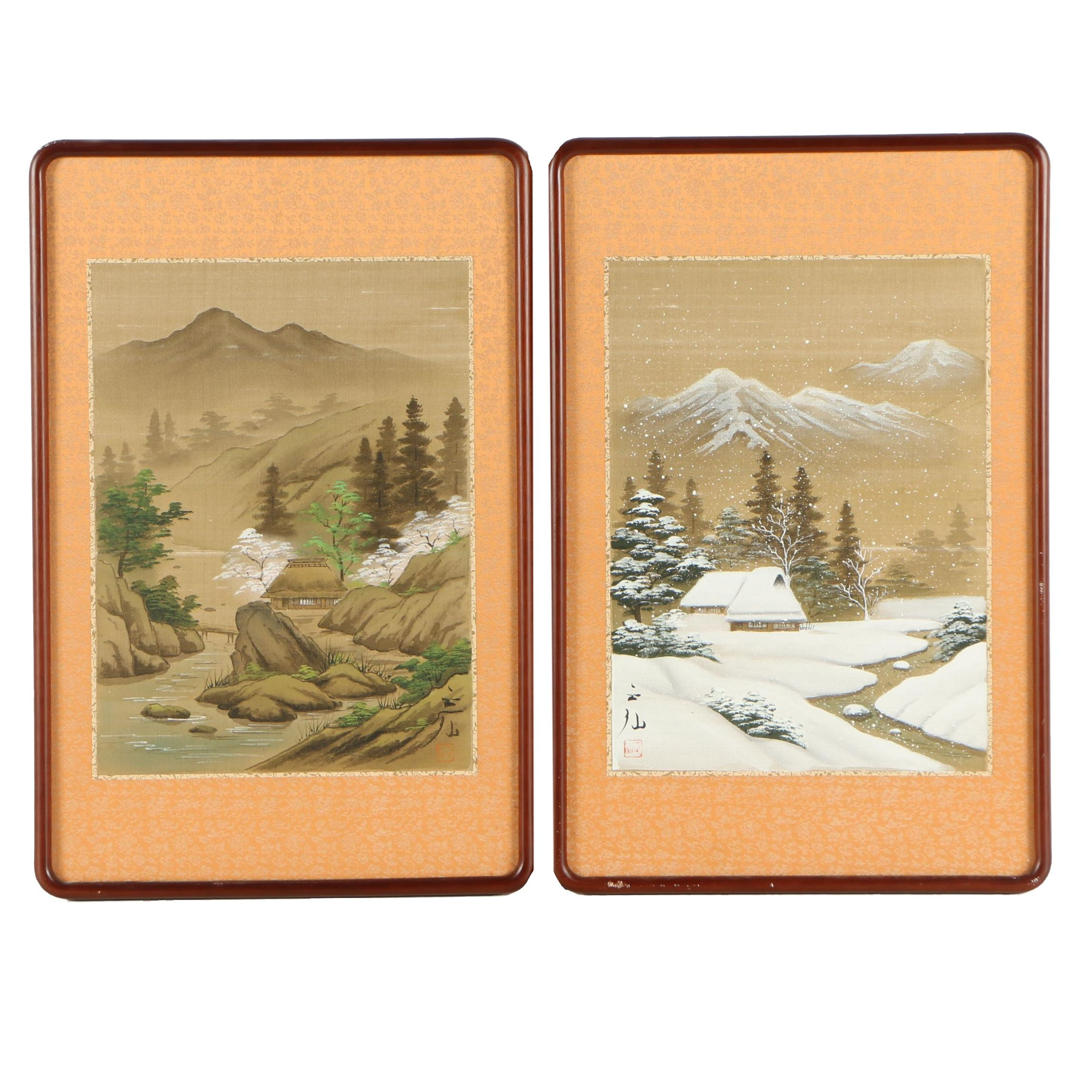East Asian Landscape Paintings on Silk