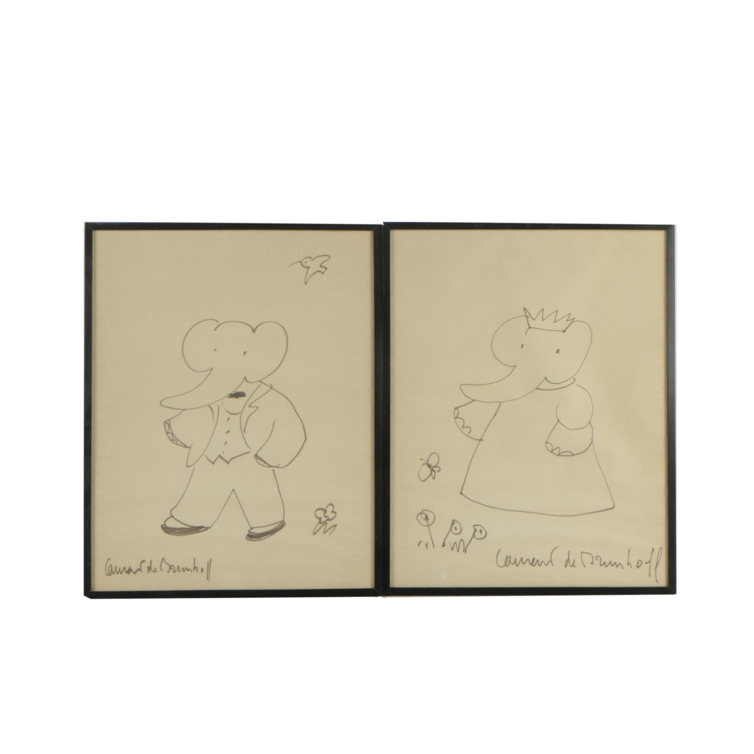 Laurent De Brunhoff Vintage Ink Illustrations of Babar the Elephant