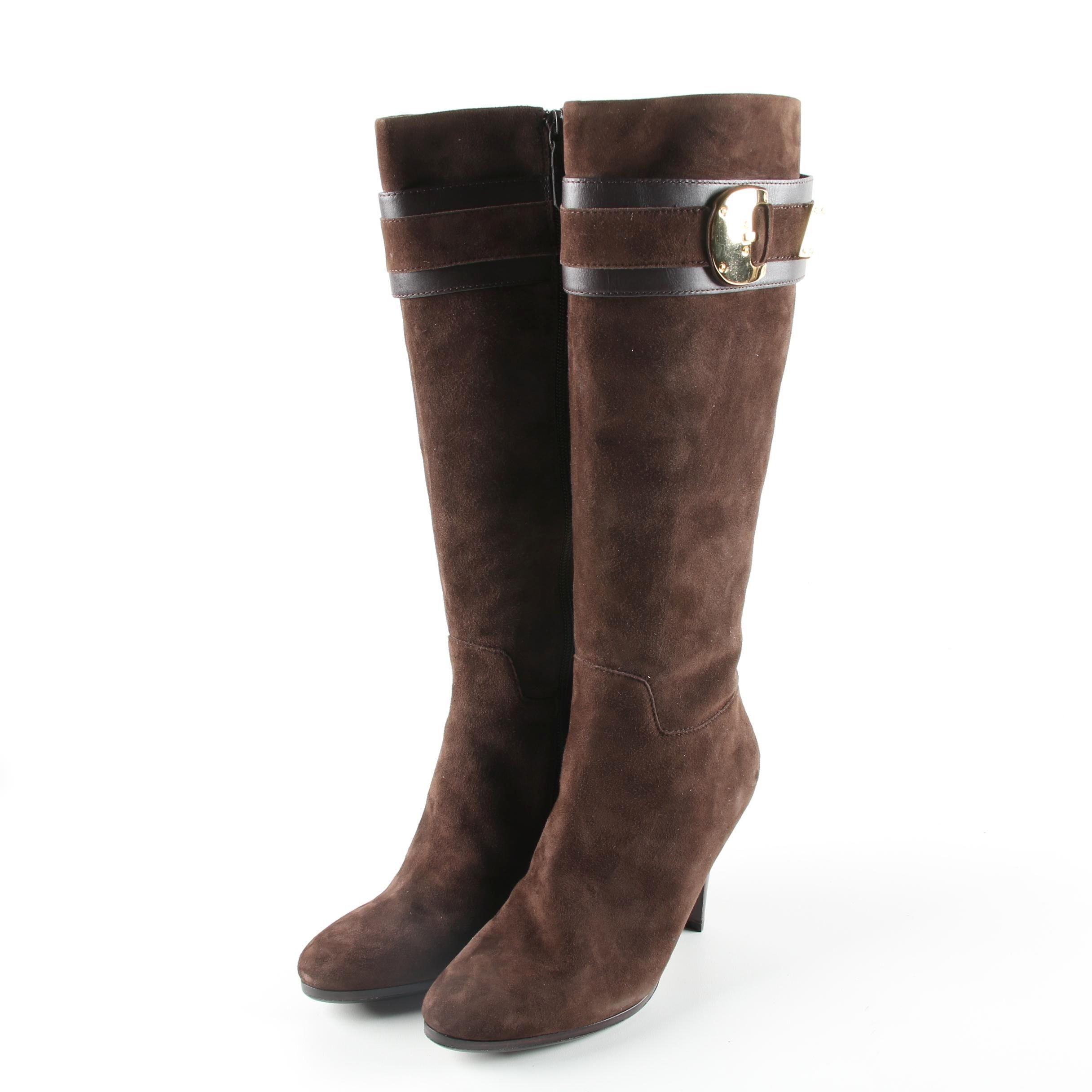 Cole Haan by Nike Air Brown Suede High Heel Boots