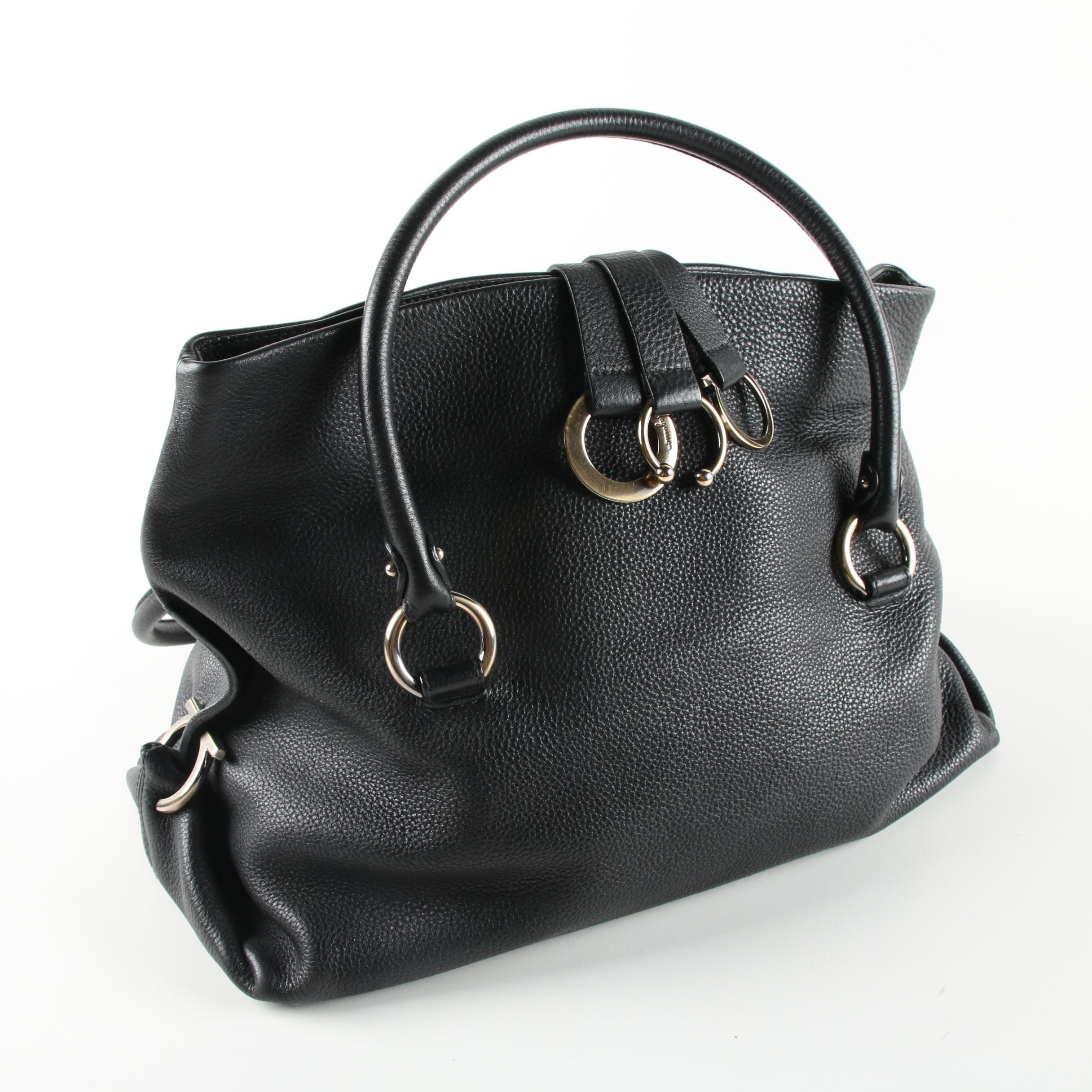 Salvatore Ferragamo Black Leather Gancini Hobo Bag