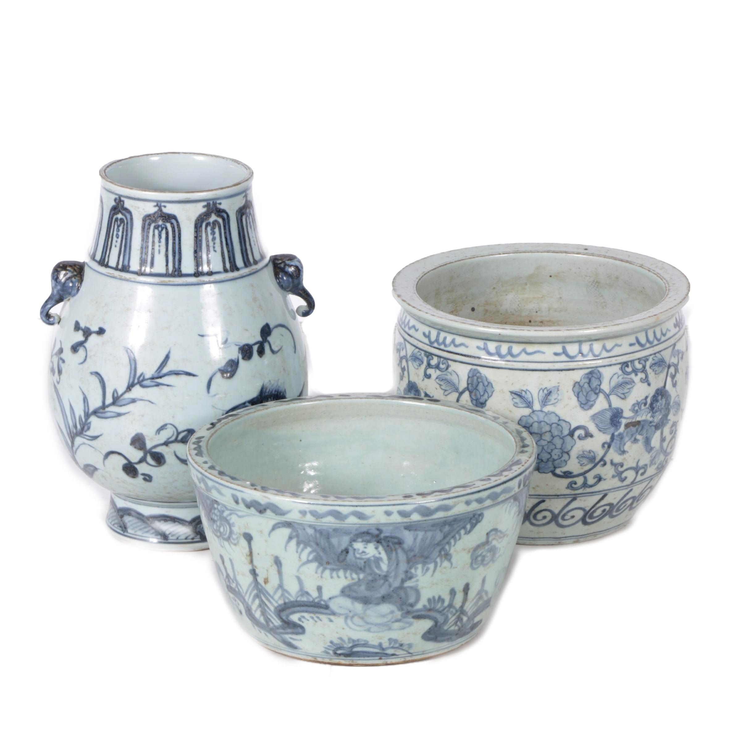 Chinese Blue and White Foliate Planters
