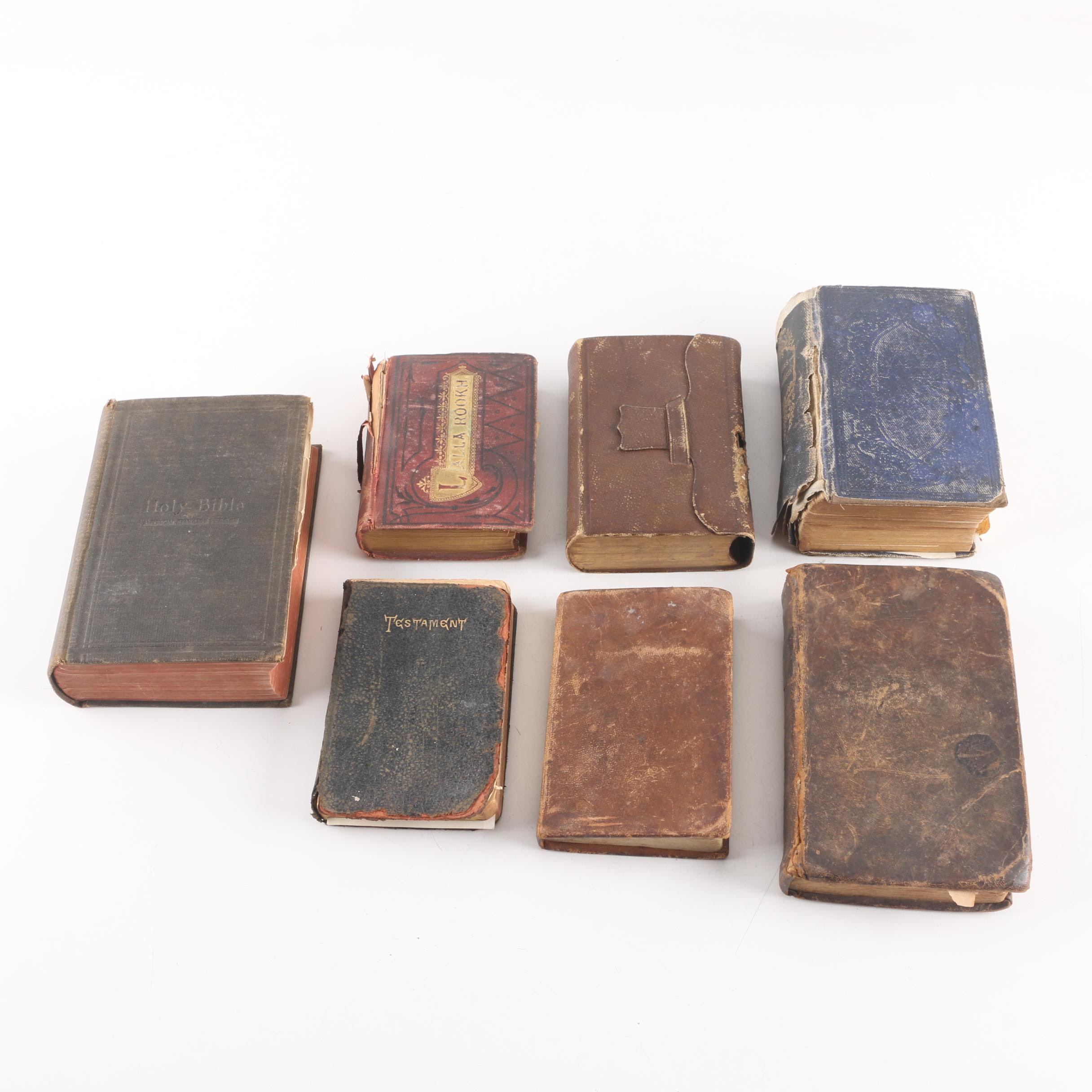 "Antique Books Including Bibles, Essays of Emerson, ""Lalla-Rookh"""