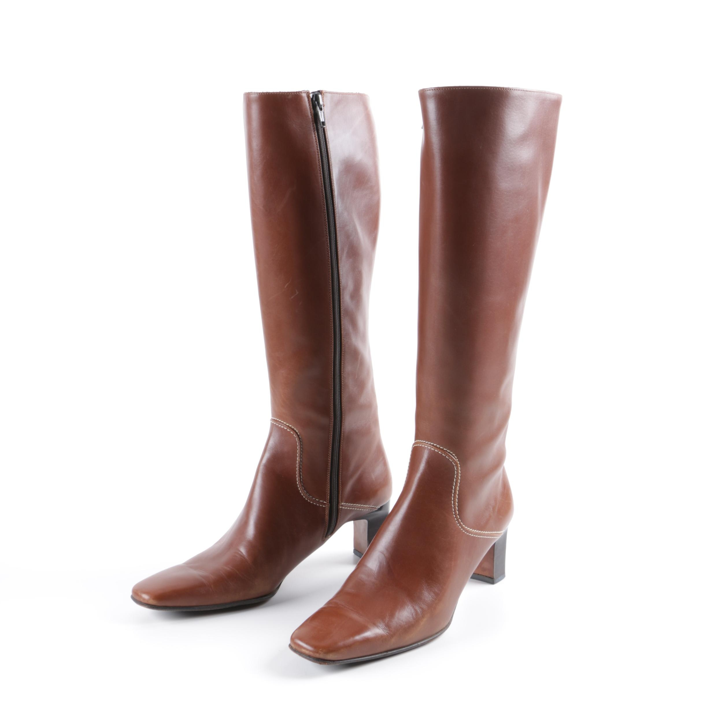 Cole Haan Brown Leather Knee-High Boots