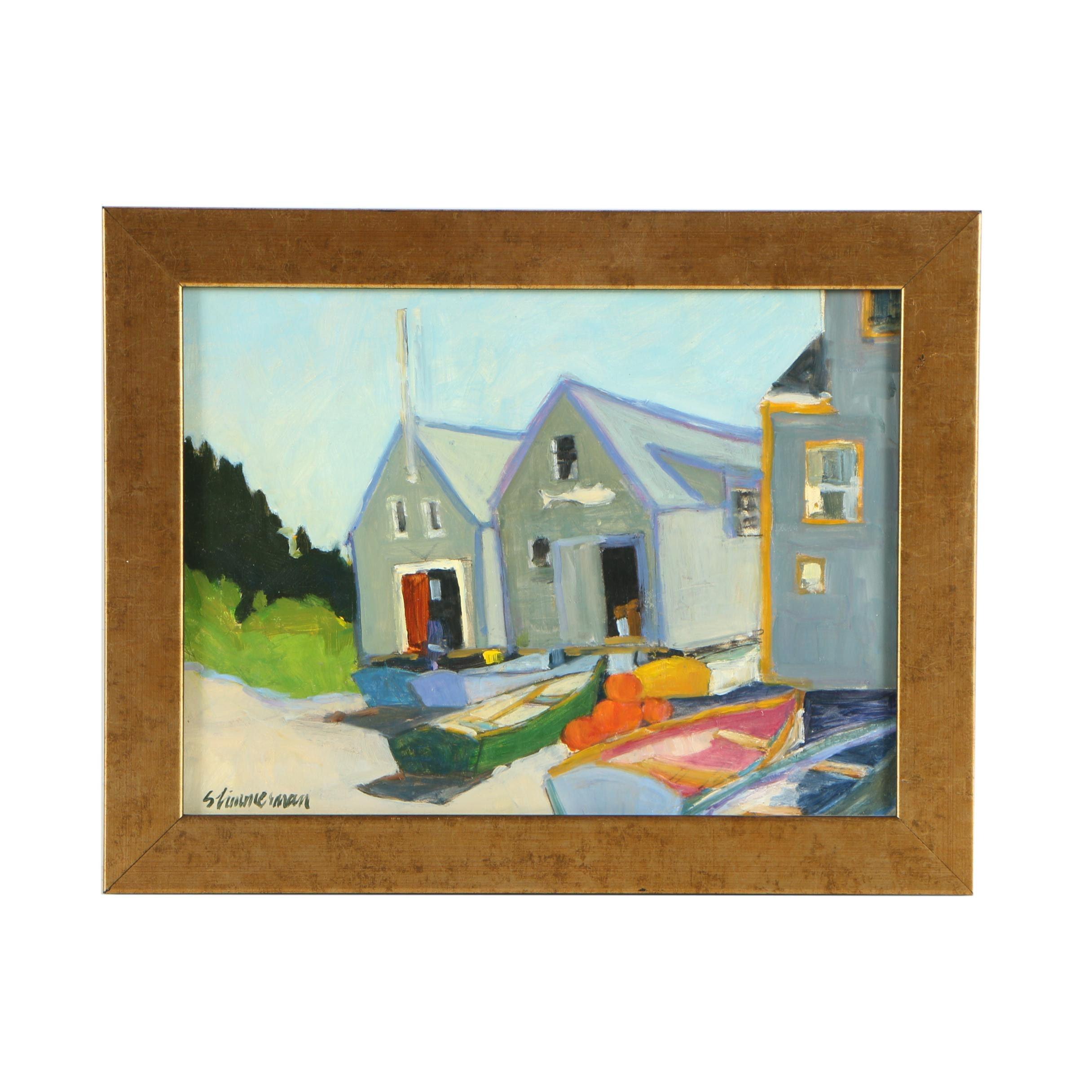 S. Zimmerman Oil Painting of Coastal Boathouses