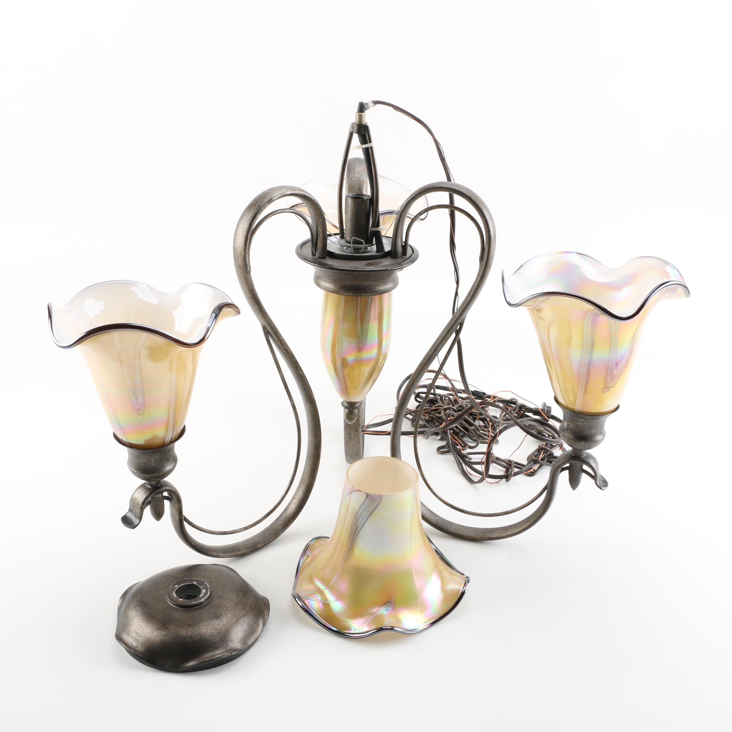 Vintage Art Nouveau-Style Chandelier with Fluted Iridescent Glass Shades