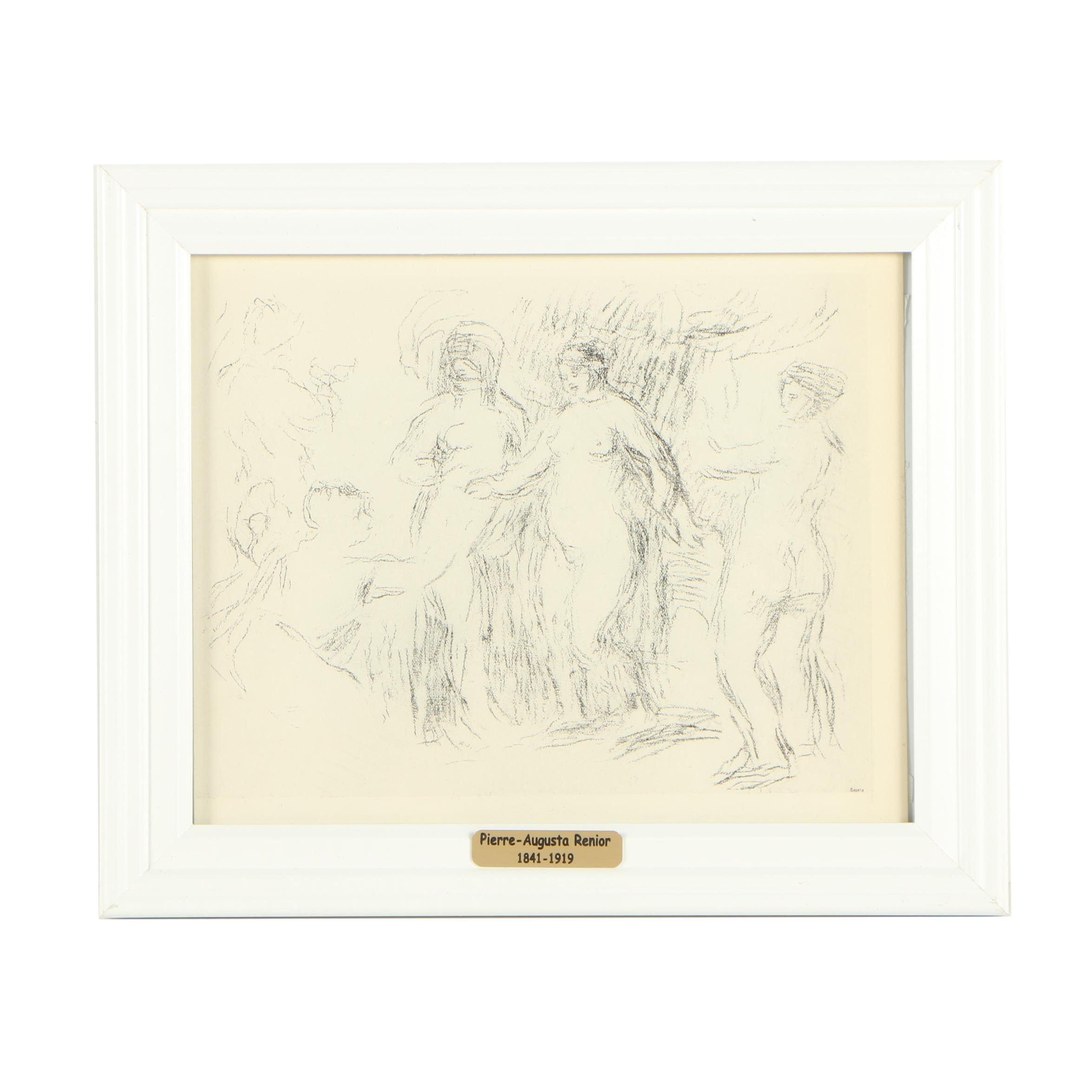 """Lithograph After Pierre-Auguste Renoir """"Les Baigneuses (Delteil 51/Stella 51)"""""""