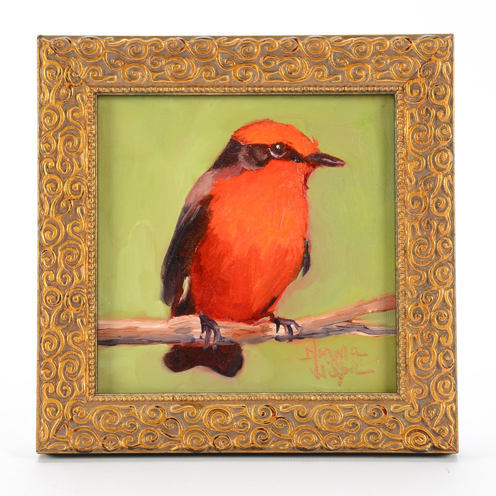 Norma Wilson Original Oil Scarlet Tanager Bird