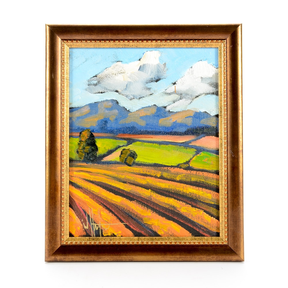 William Hawkins Oil Painting on Canvas Board of Pastoral Landscape