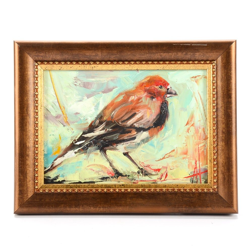 "Anne Thouthip Original Oil Painting on Canvas Board ""Male House Finch"""
