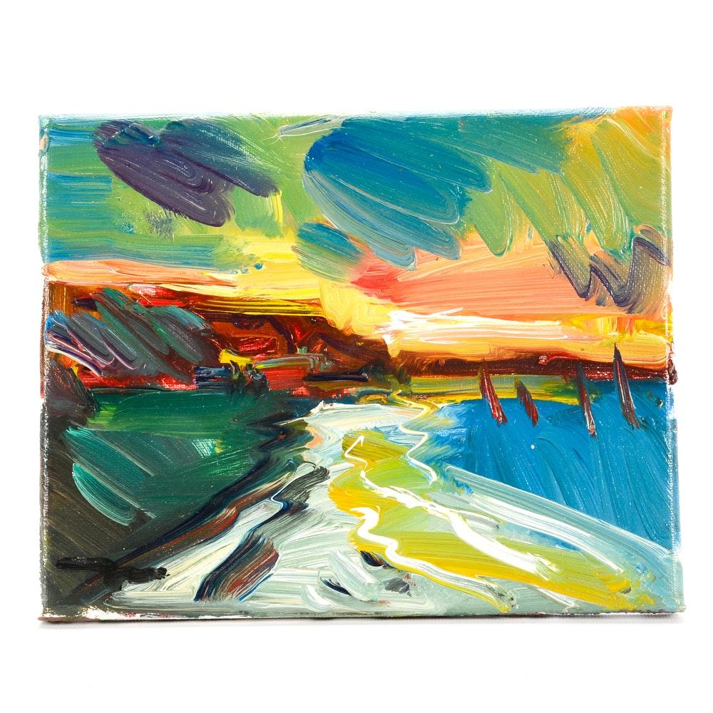 "Jose Trujillo Original Oil Painting on Paper ""Sunset Sails"""