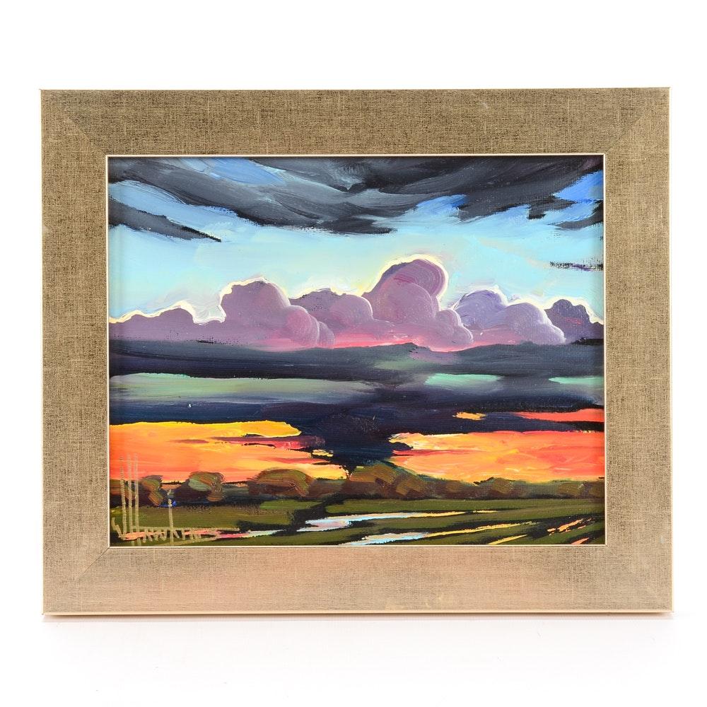 William Hawkins Original Oil on Canvas Board Impressionist Landscape Painting