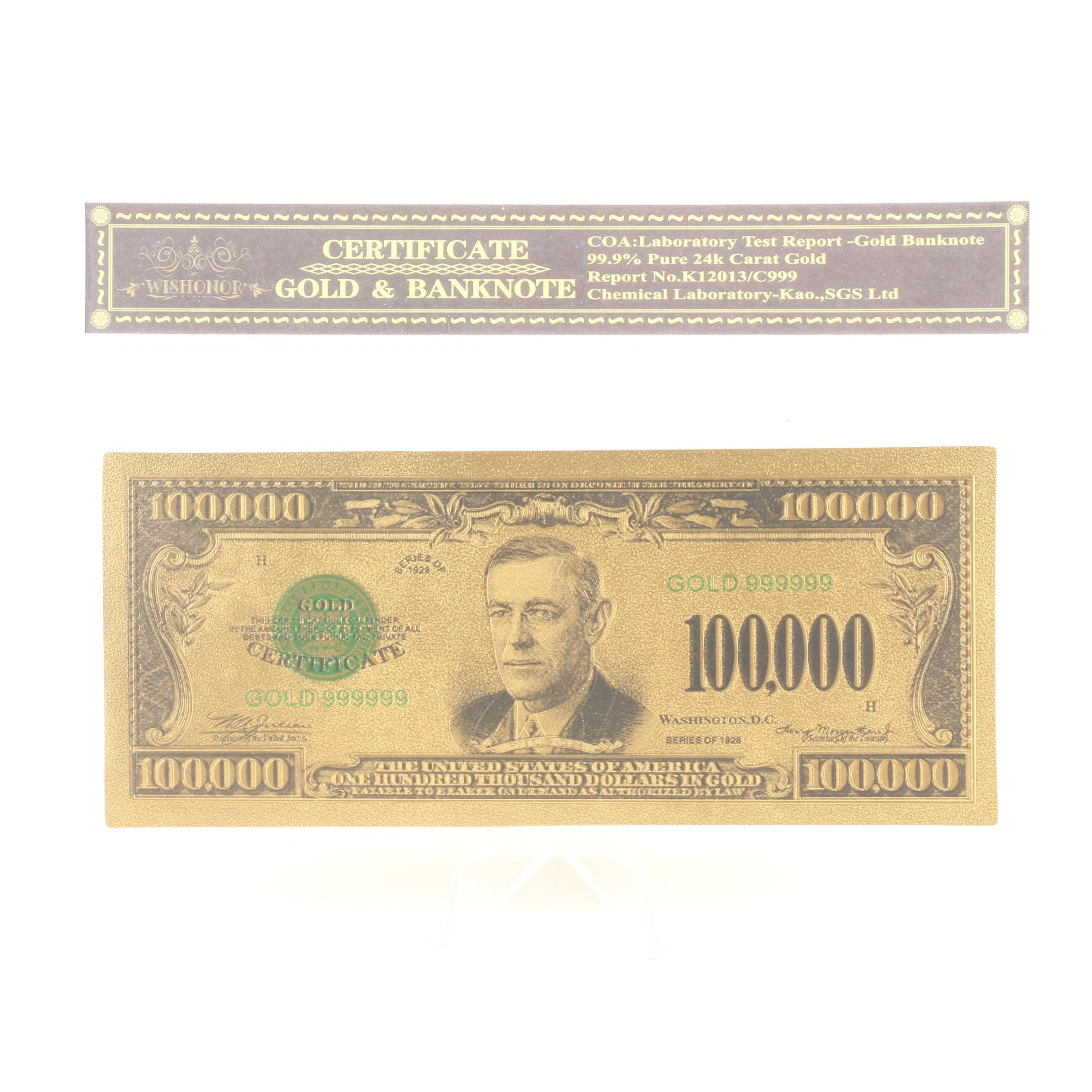 24 Karat Gold-Plated $100,000 Gold Certificate Reproduction