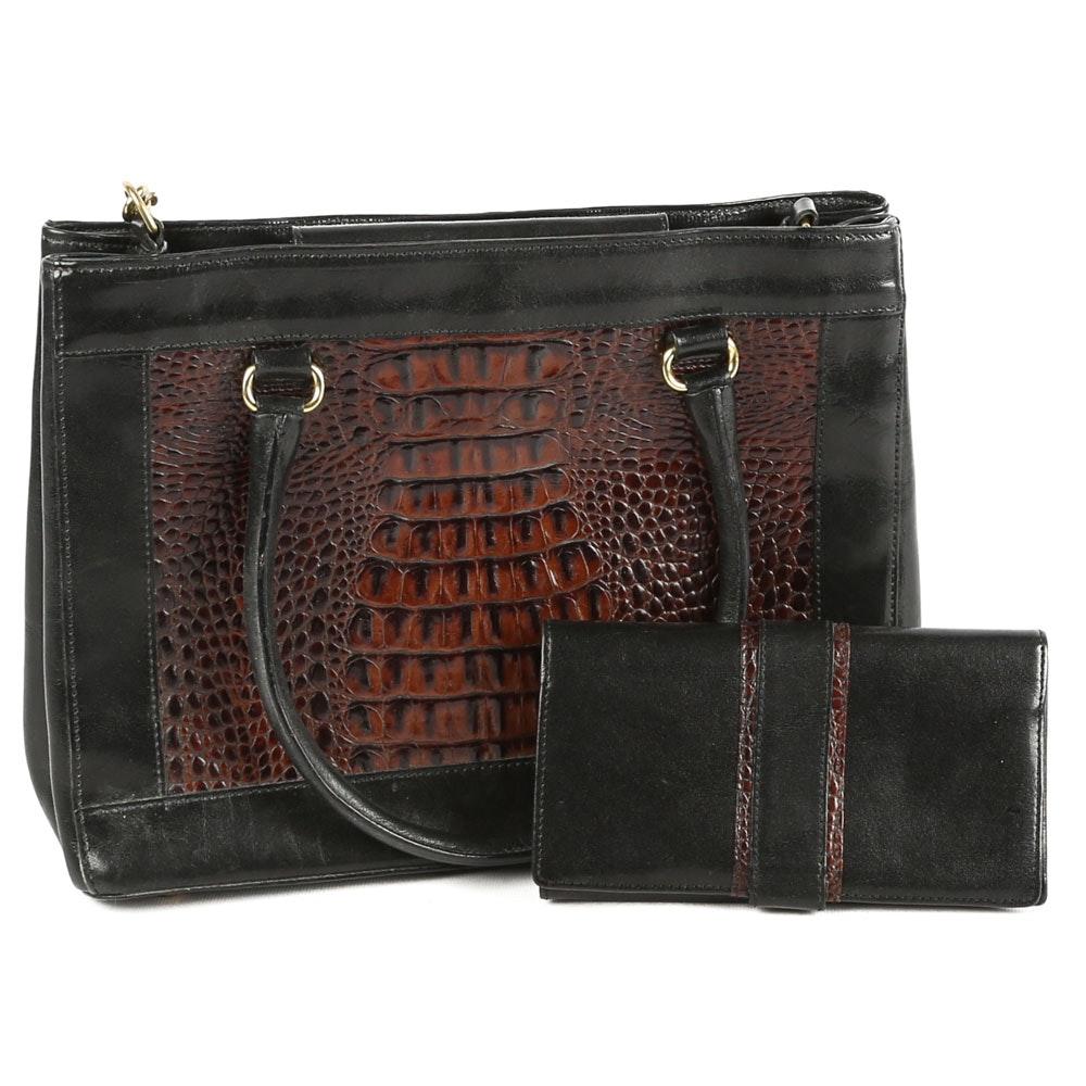 Brahmin Embossed Leather Handbag and Wallet