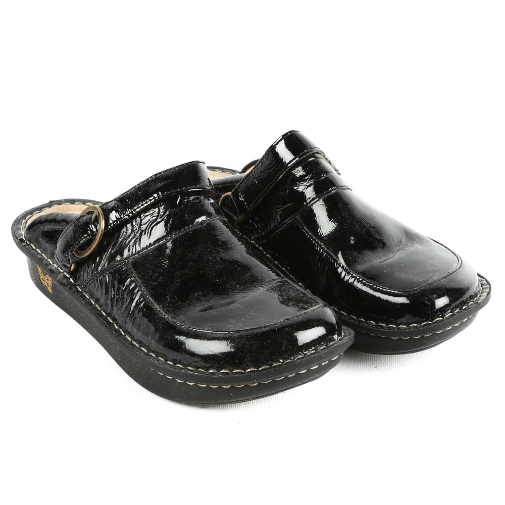 Women's Alegria Black Patent Leather Mules with Slip Resistant Outsoles