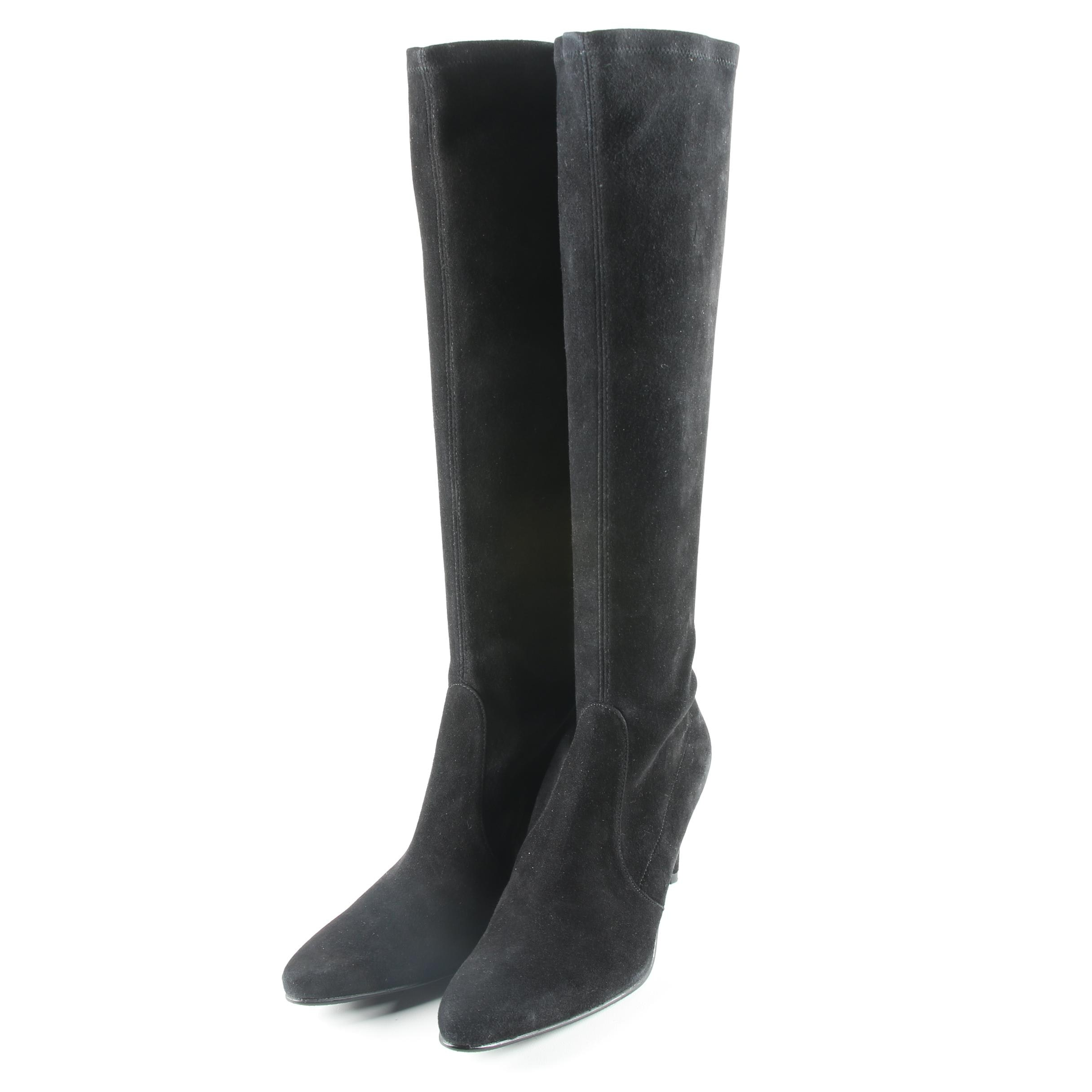 Stuart Weitzman Black Suede Knee-High Boots