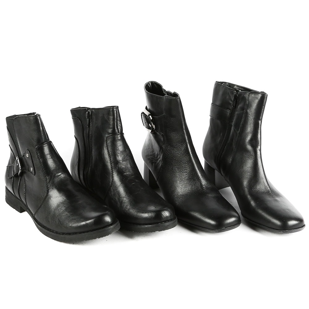 Women's Black Leather Ankle Boots Featuring Nine West