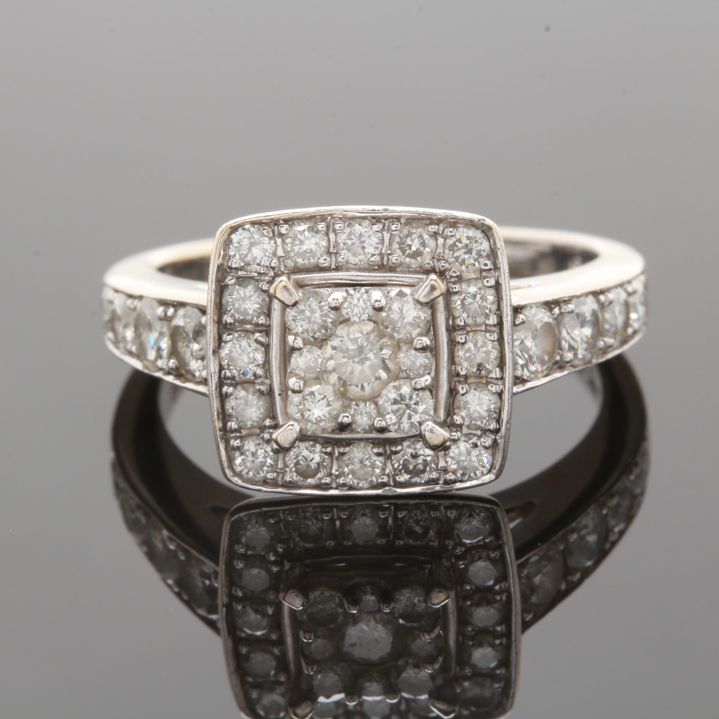 14K White Gold 1.20 CTW Diamond Ring