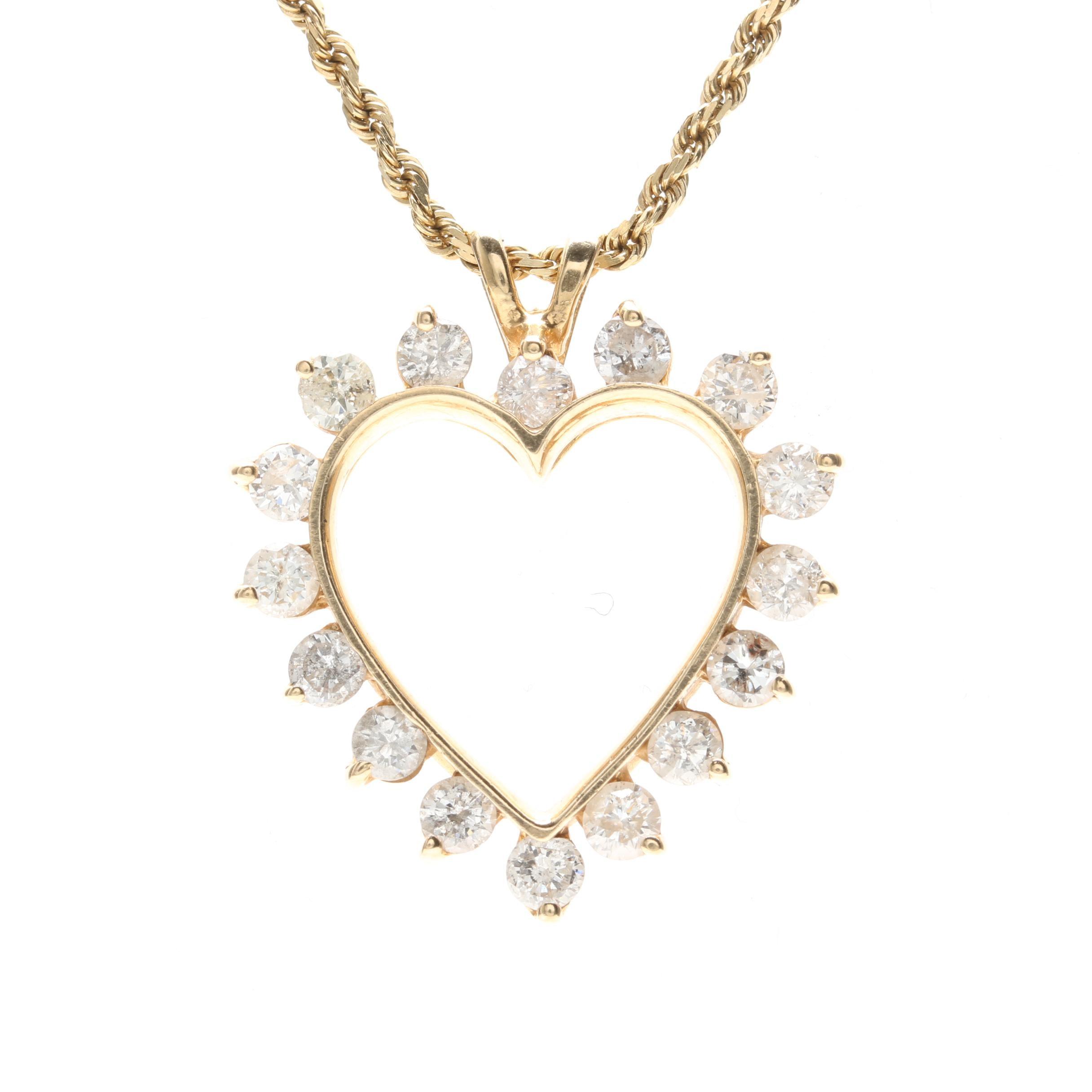 14K Yellow Gold 1.78 CTW Diamond Heart Necklace